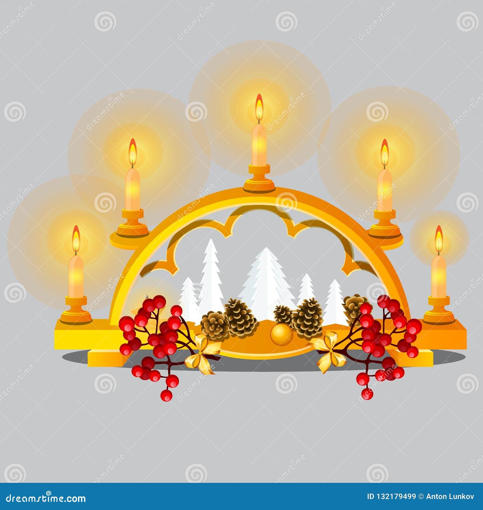 Bosquejo de la Navidad con las velas ardientes en candelero de oro con las decoraciones festivas y las chucherías en estilo orien