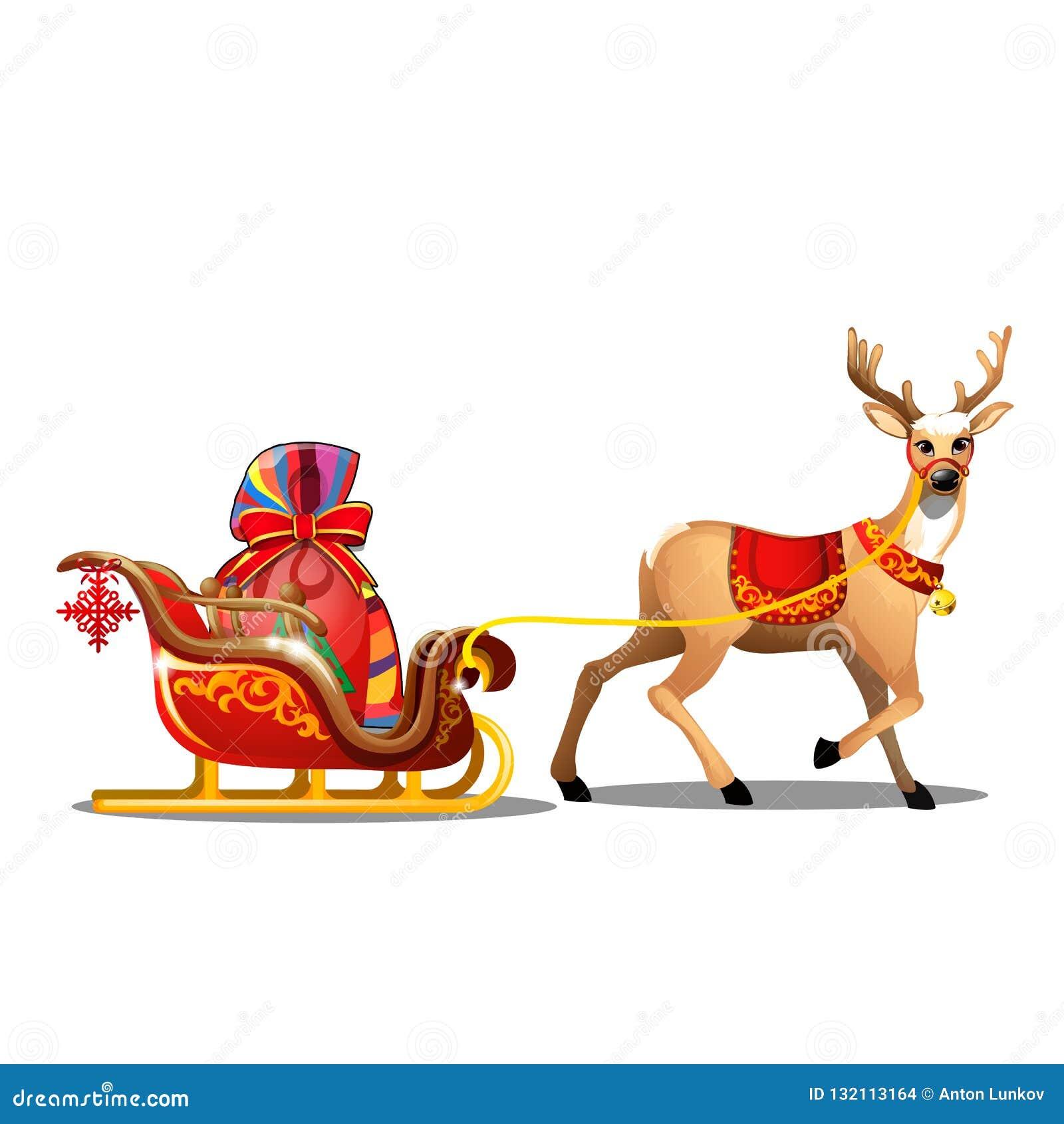 Bosquejo de la Navidad con los ciervos animados con la manta roja y el trineo con el bolso de Santa Claus con los regalos Muestra