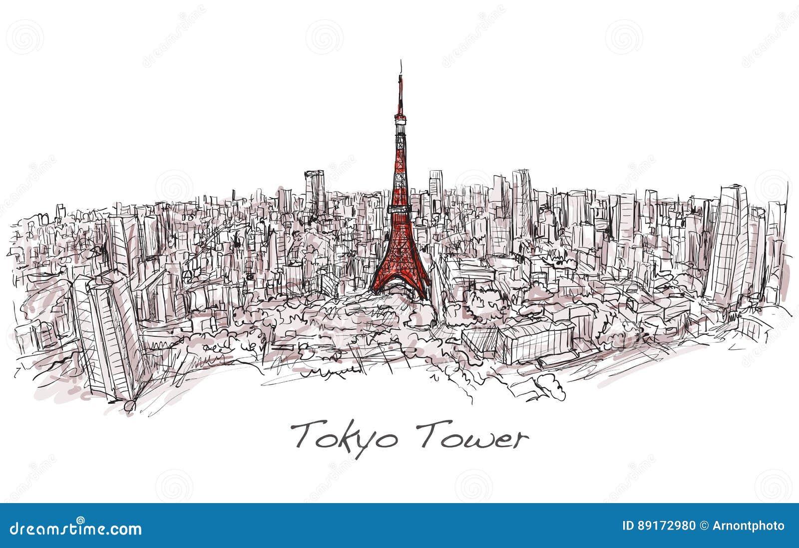 Bosquejo de la torre de Tokio del scape de la ciudad con horizonte del edificio,