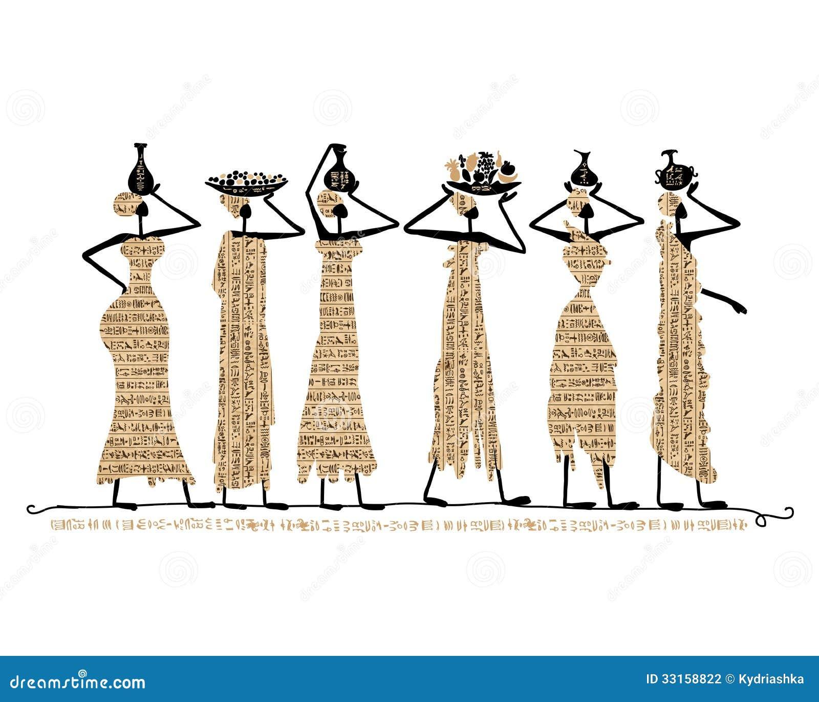 Bosquejo de las mujeres de Egipto con los jarros para su diseño