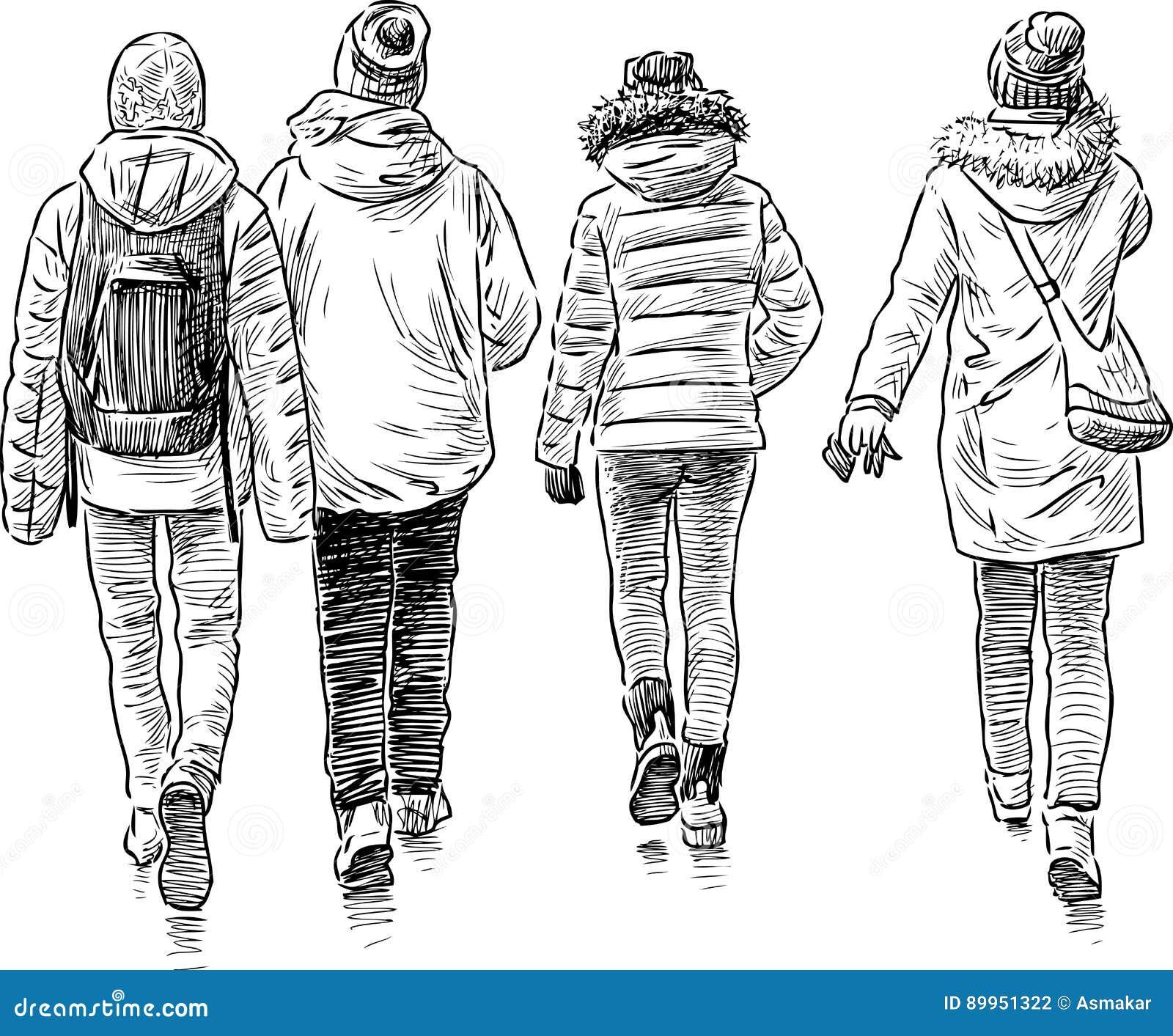 Bosquejo de los estudiantes que caminan