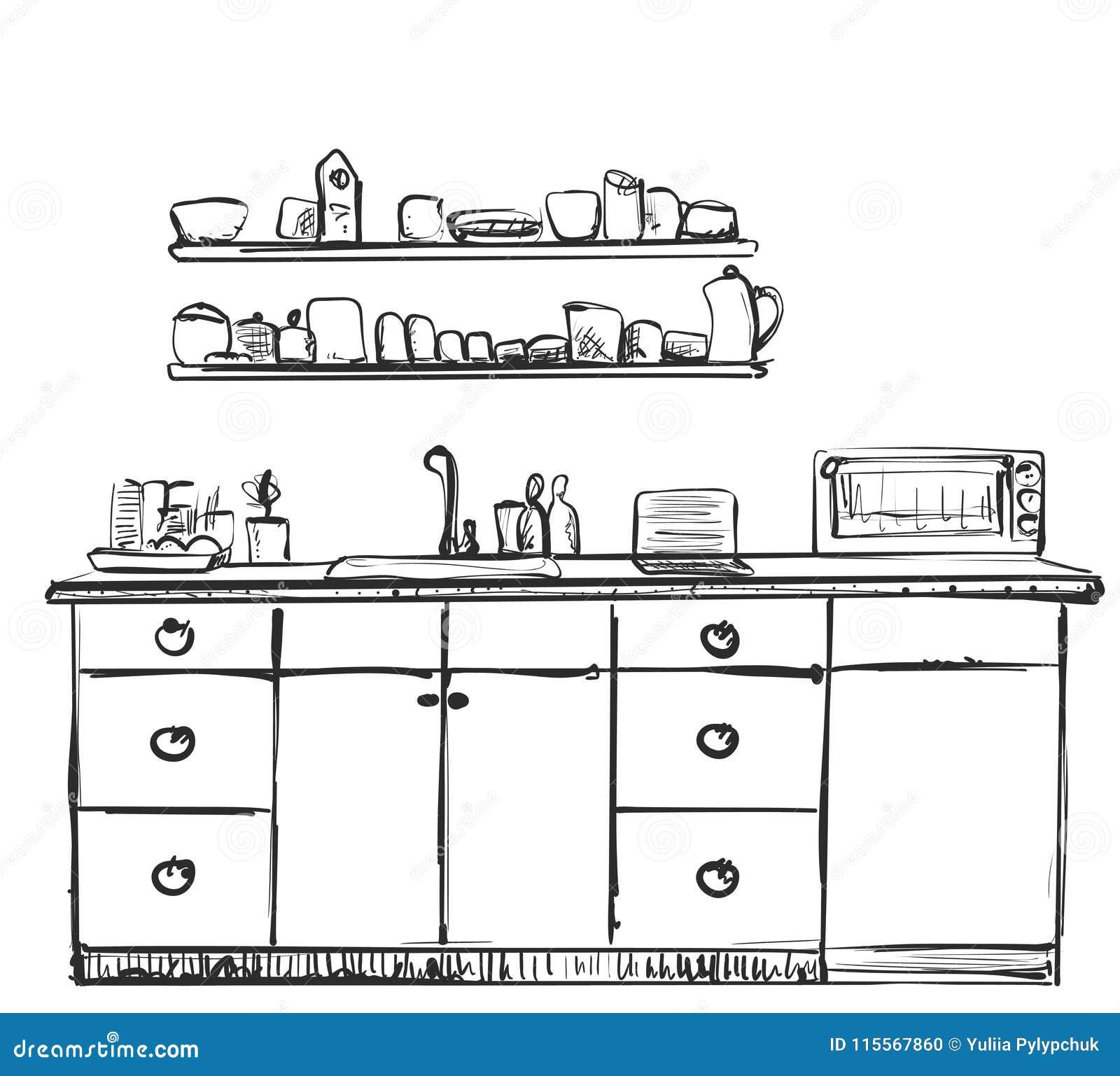 Bosquejo De Los Muebles De La Cocina Armario Dibujado Mano