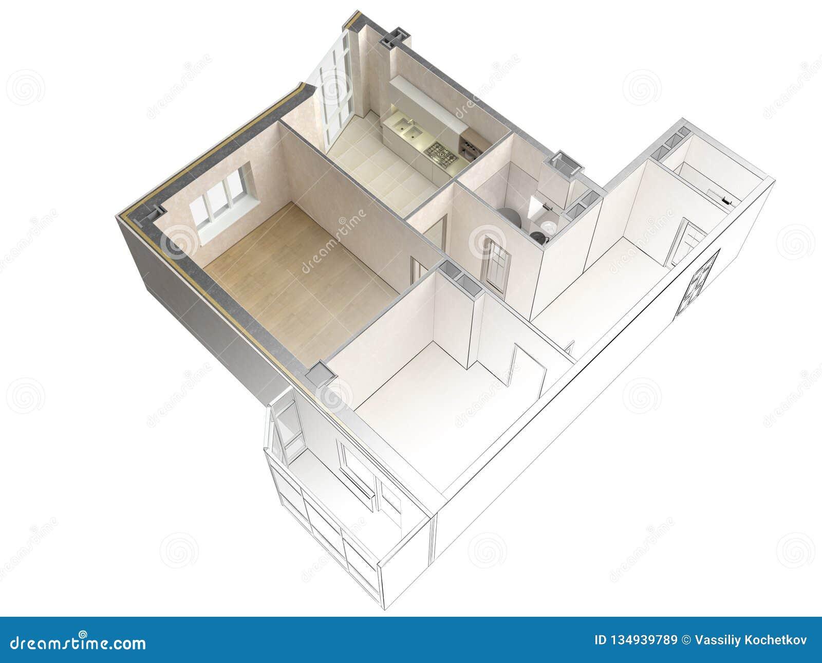 Bosquejo de un apartamento moderno que pone en contraste con una representación realista 3d, visión superior del proyecto, aislad