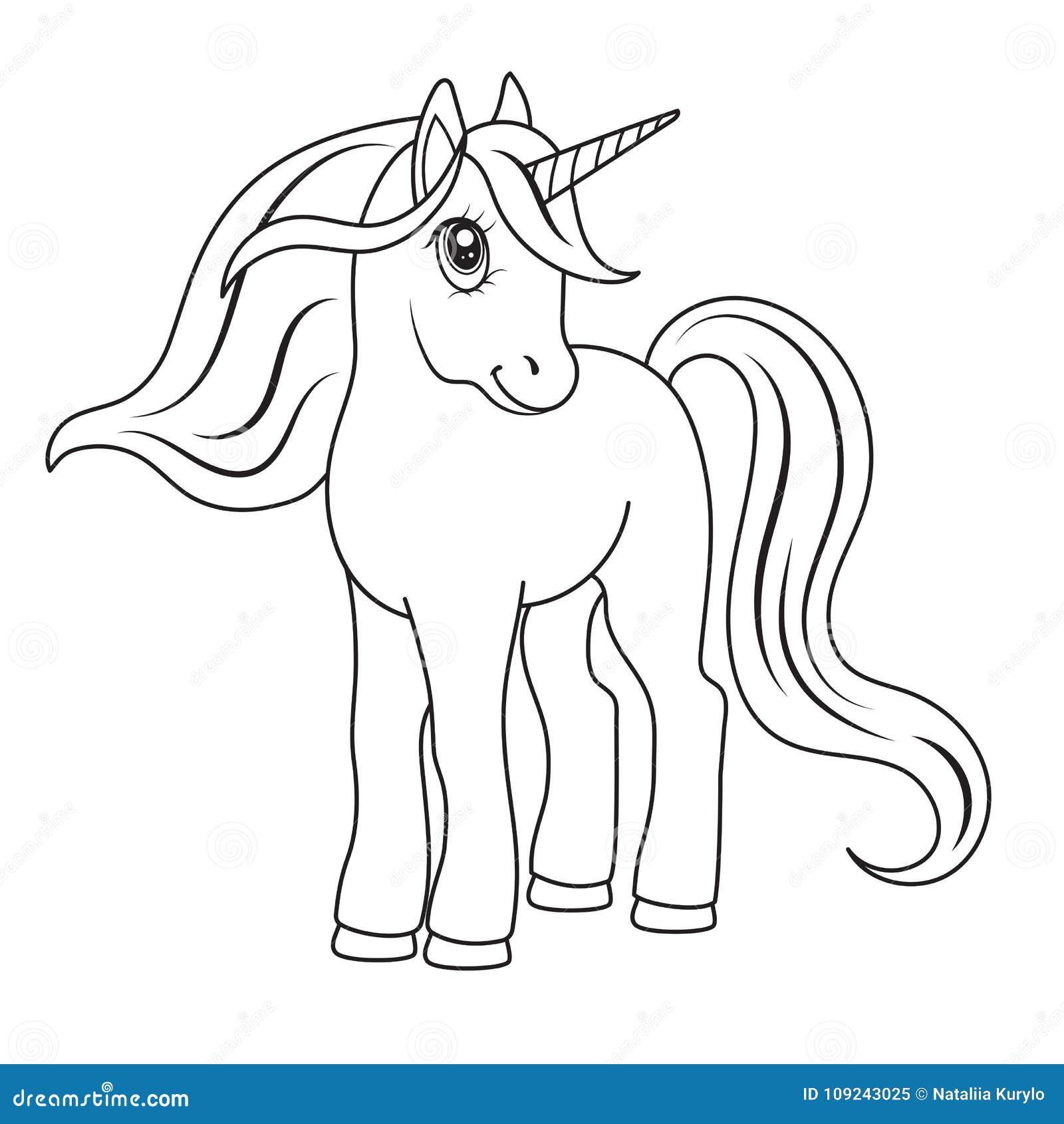 Bosquejo De Un Unicornio Para Colorear Ilustración del Vector ...