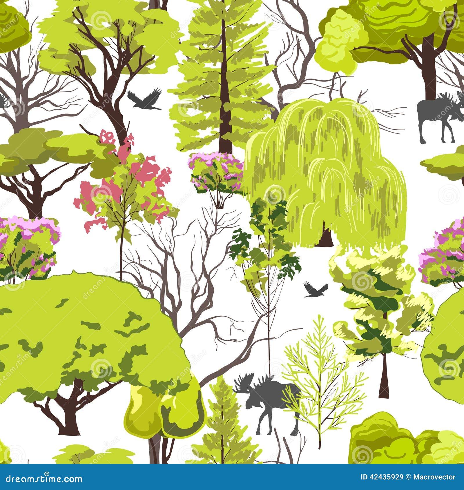 Bosquejo del árbol forestal inconsútil