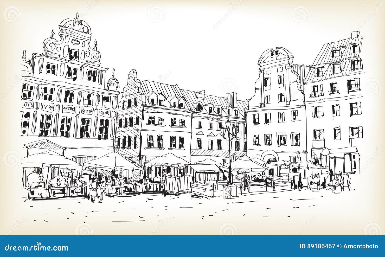 Bosquejo del dibujo del scape de la ciudad en el vector céntrico de Polonia