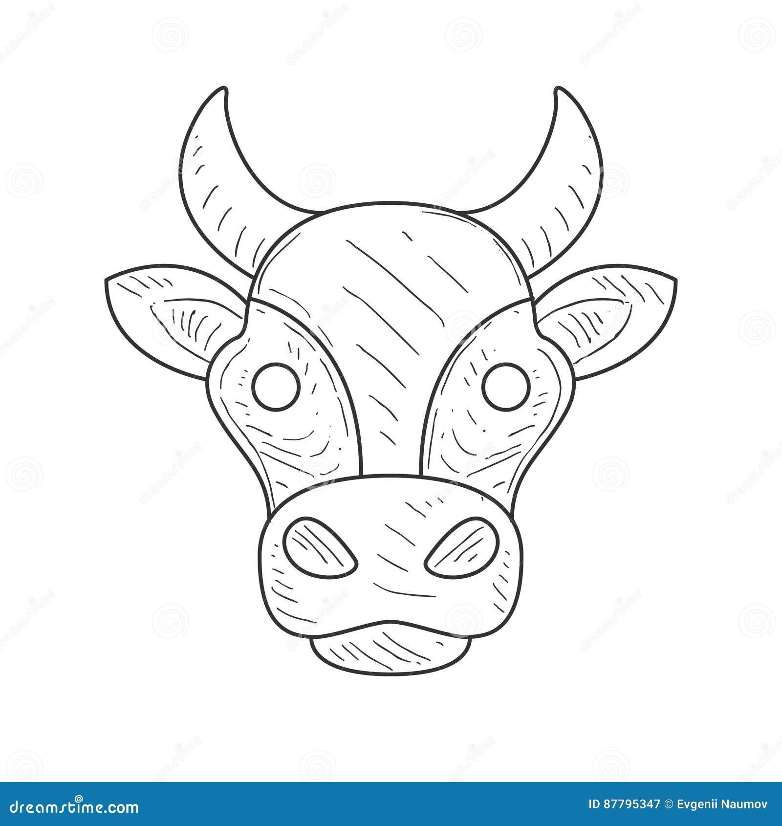 Bosquejo Del Lápiz Con La Cabeza Aislada De Las Vacas En El Color