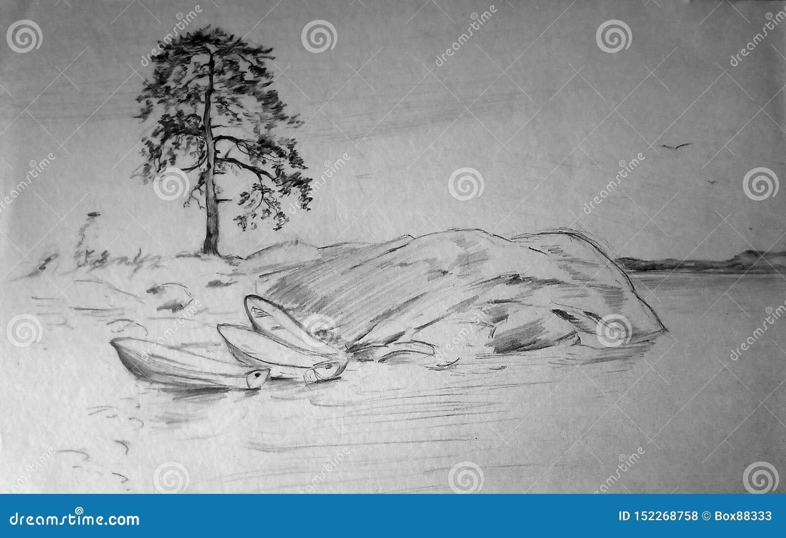 Bosquejo del lápiz del paisaje en el lago Orilla rocosa, pino solo, barcos en la orilla