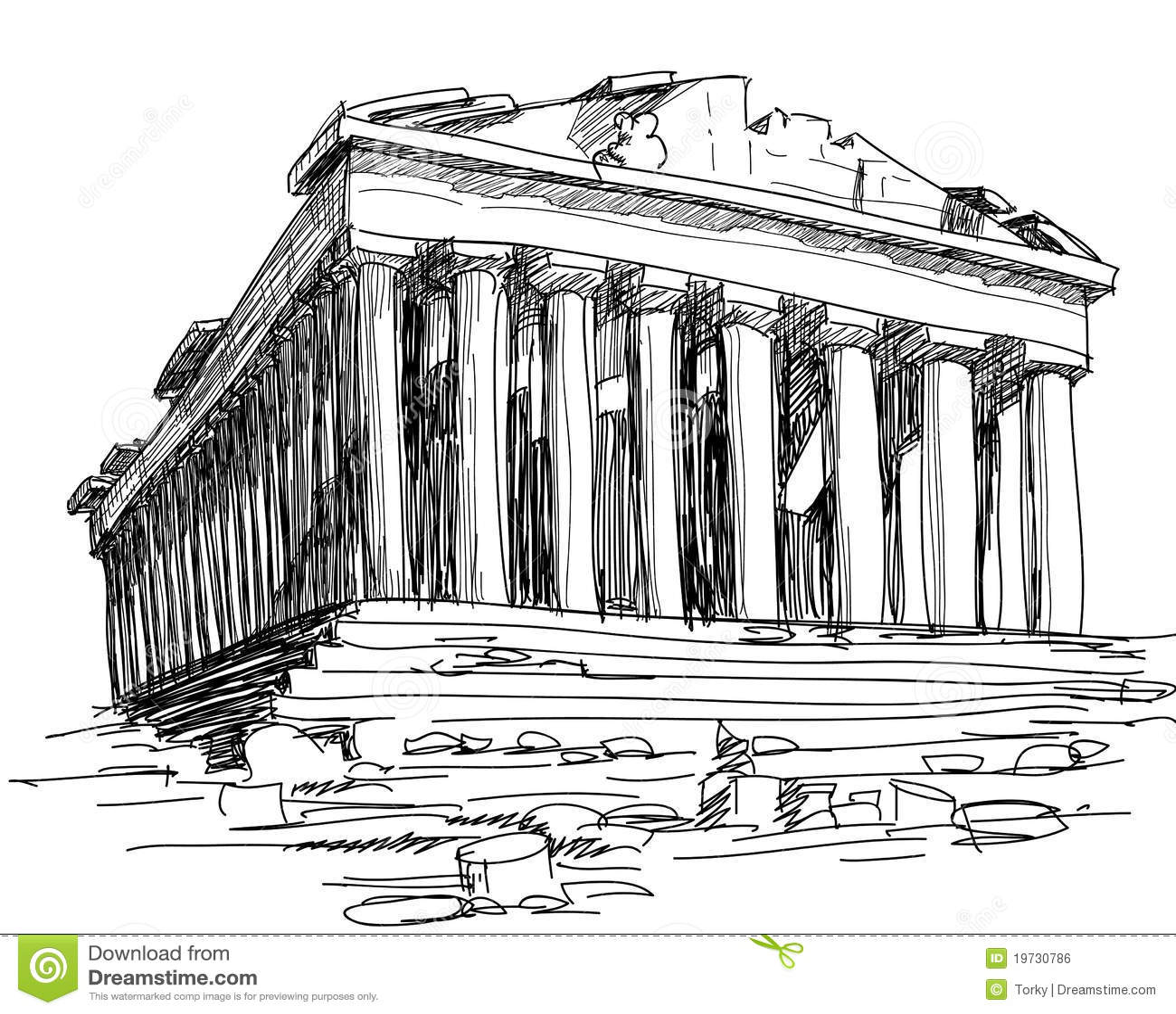 Bosquejo del Parthenon de Grecia