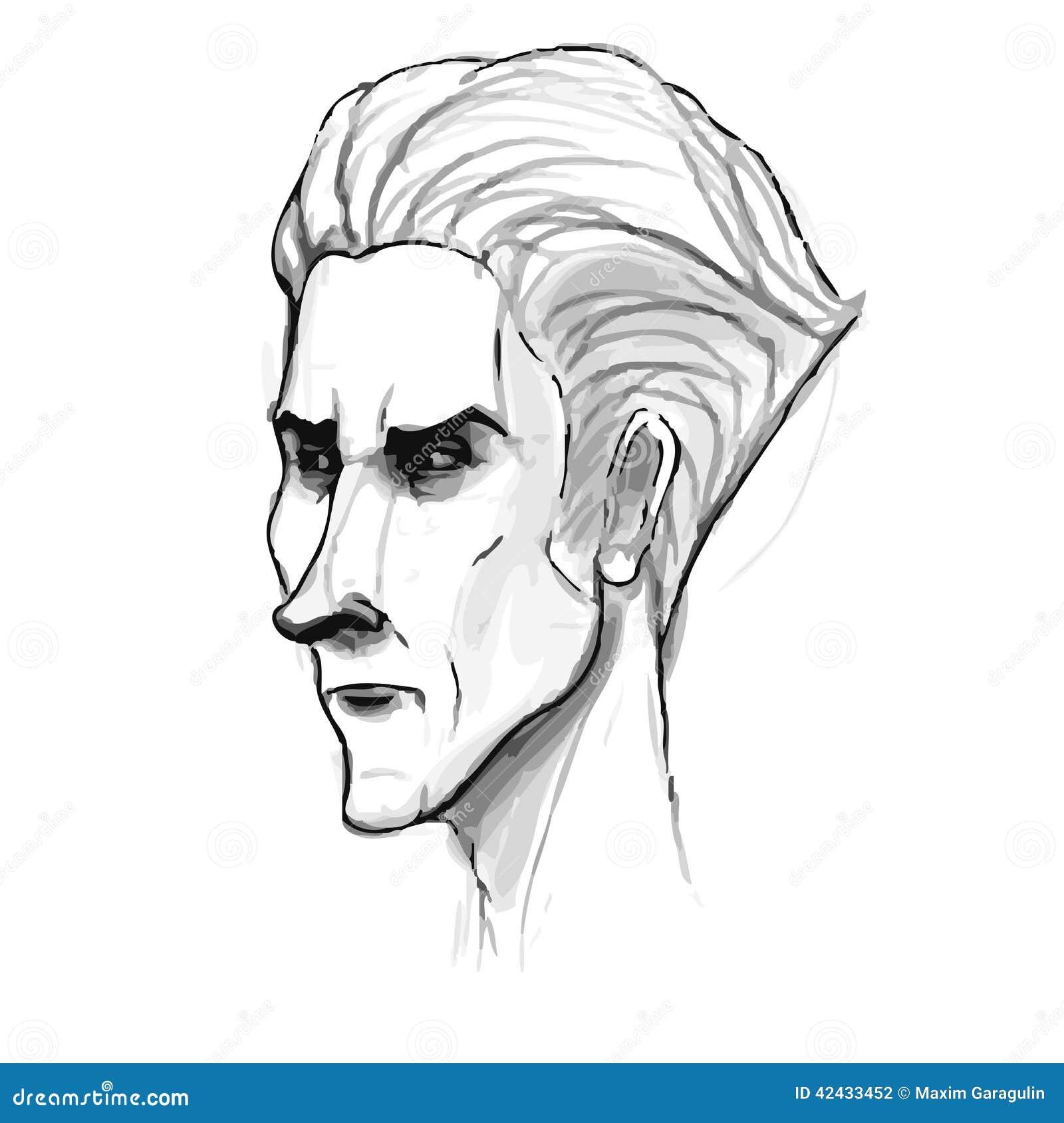 Bosquejo del retrato del hombre Imitación del dibujo de lápiz adentro