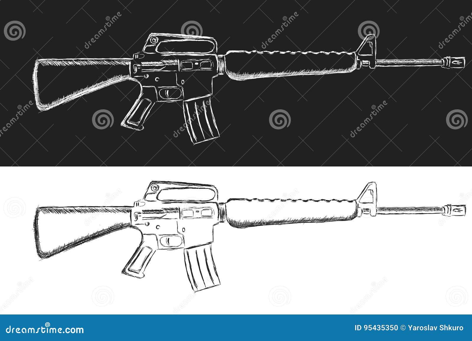 Bosquejo Del Rifle De Asalto Ejemplo Clásico Del Vector Del