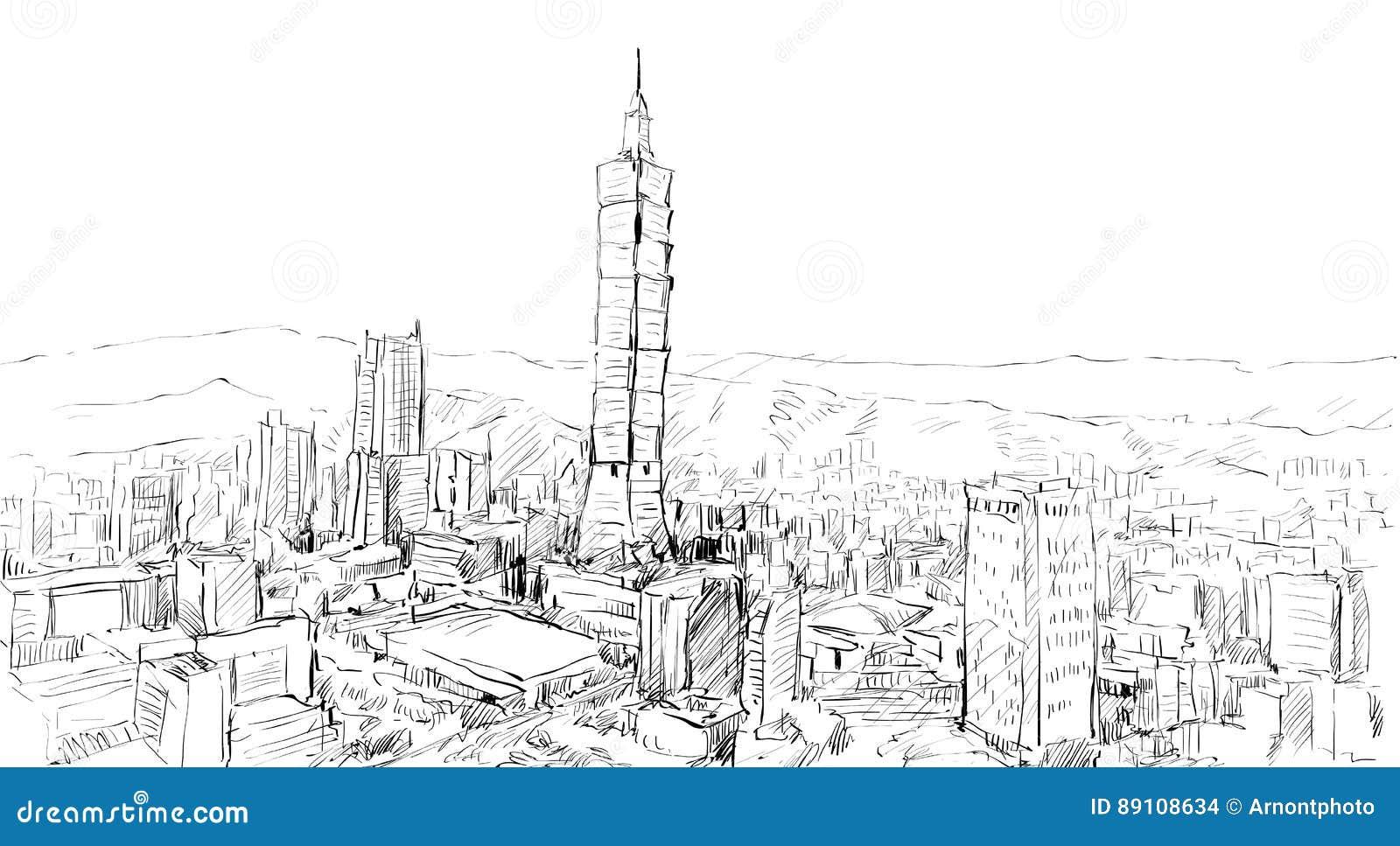 Bosquejo del townscape de la demostración del paisaje urbano en edificio de Taiwán, Taipei