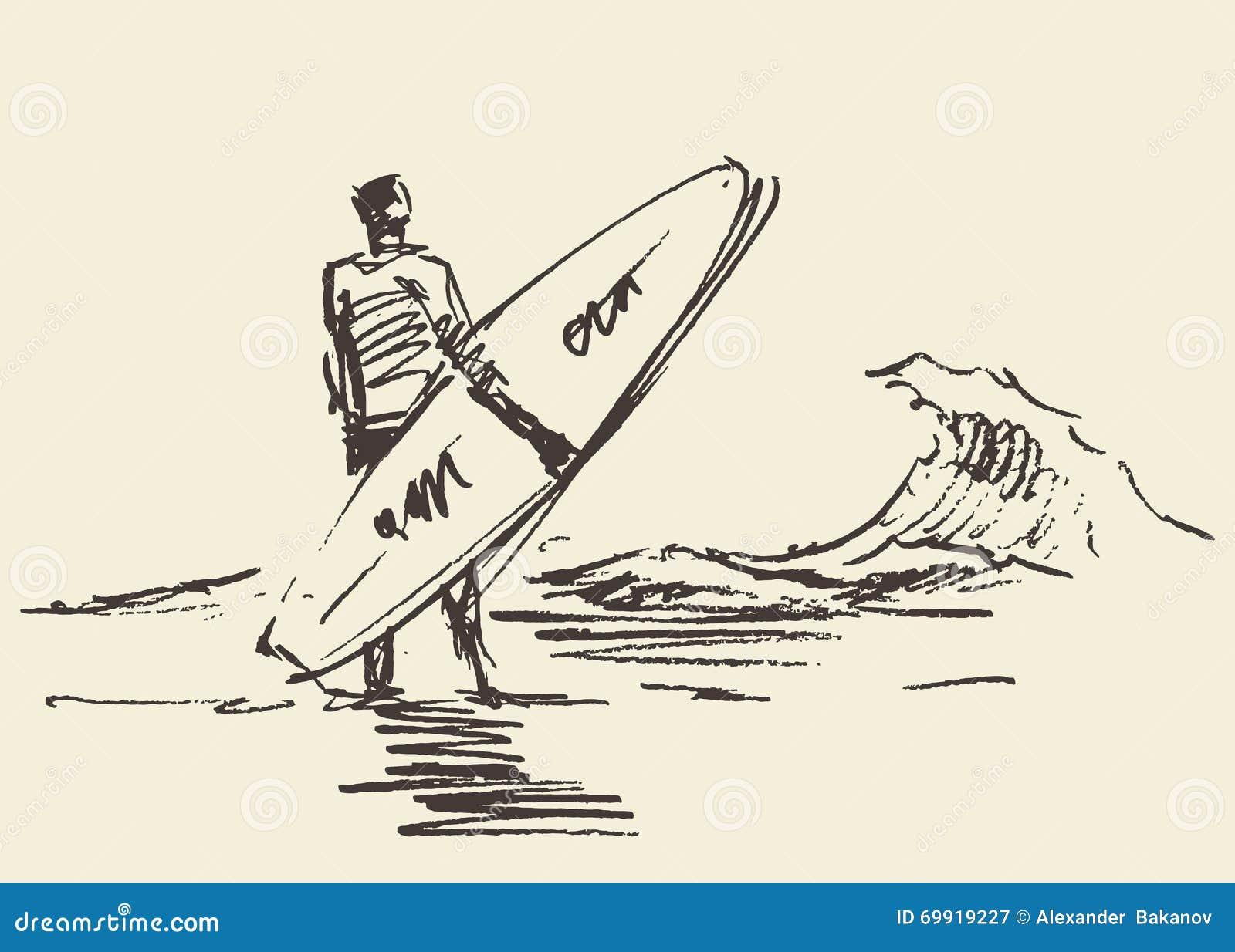 Bosquejo del vector de la tabla hawaiana de la playa del hombre que se sienta exhausto