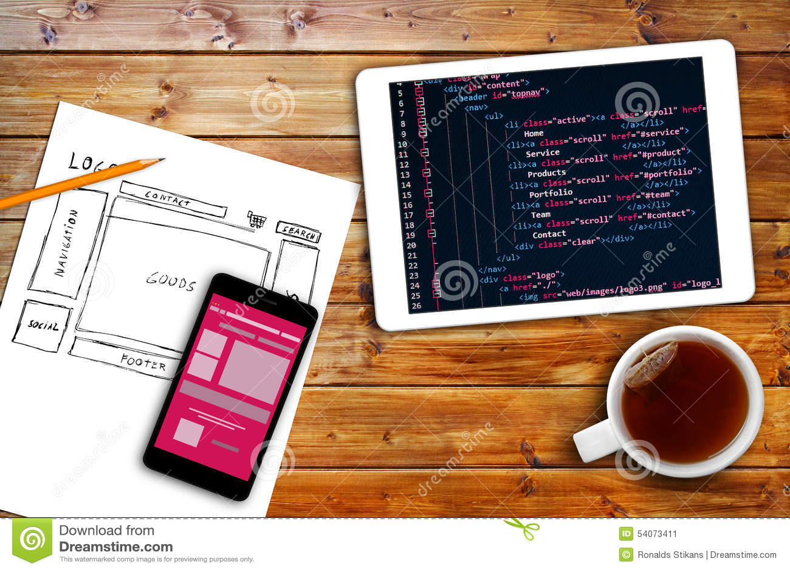 Bosquejo del wireframe del sitio web y código programado en la tableta digital