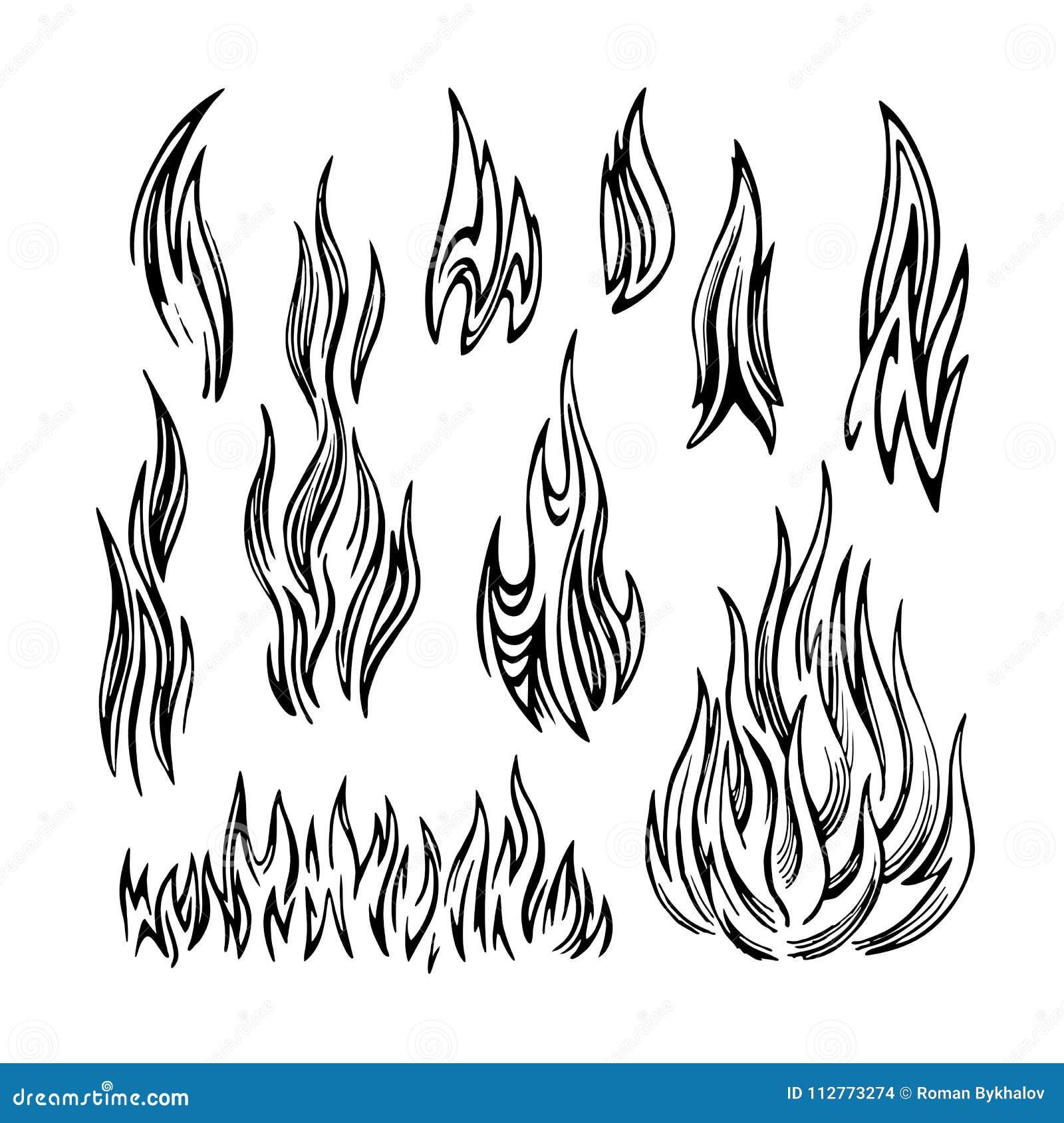 Bosquejo determinado del fuego de la llama