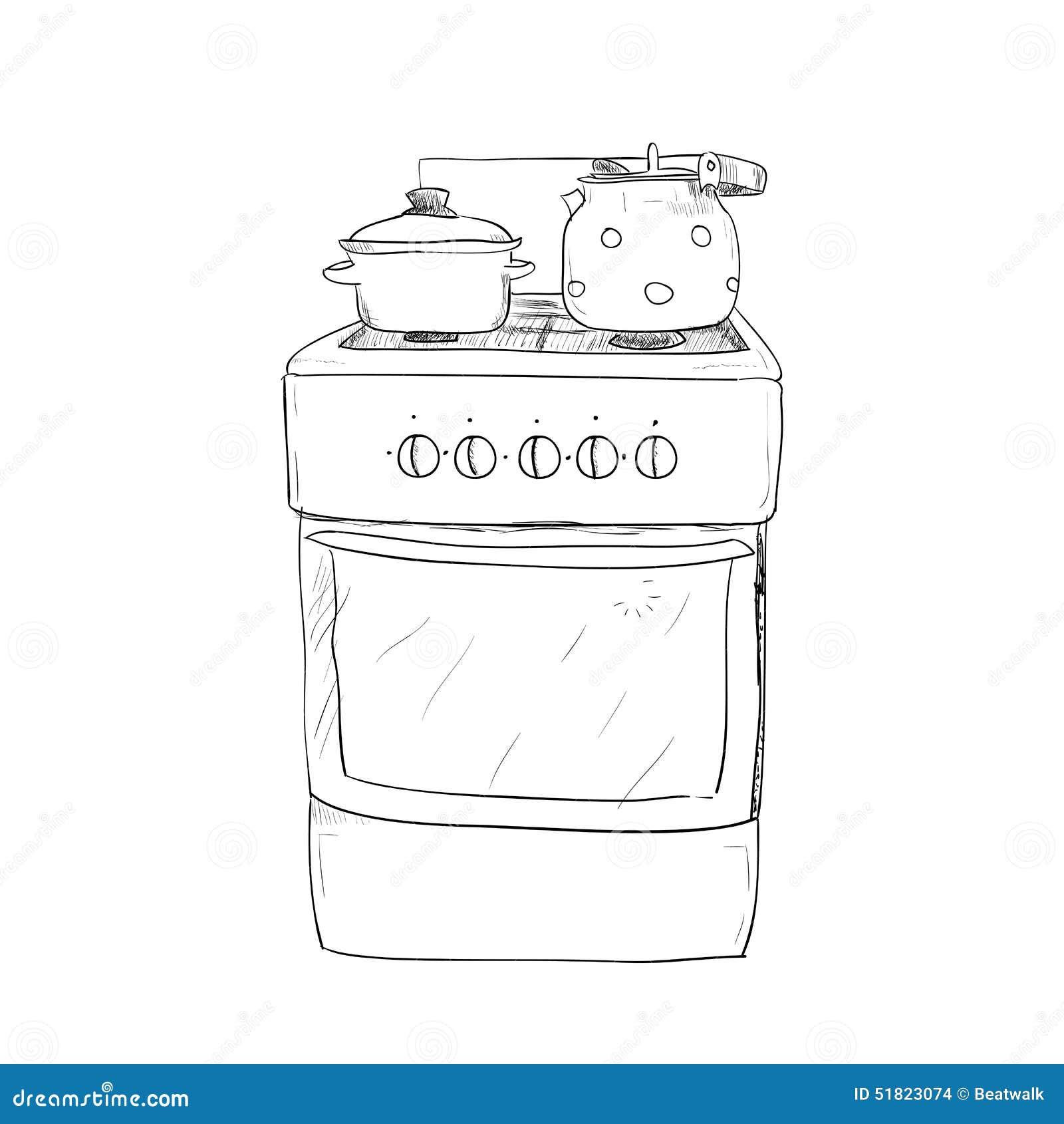 Bosquejo dibujado mano de la estufa de cocina ilustraci n for La cocina de dibujos pdf