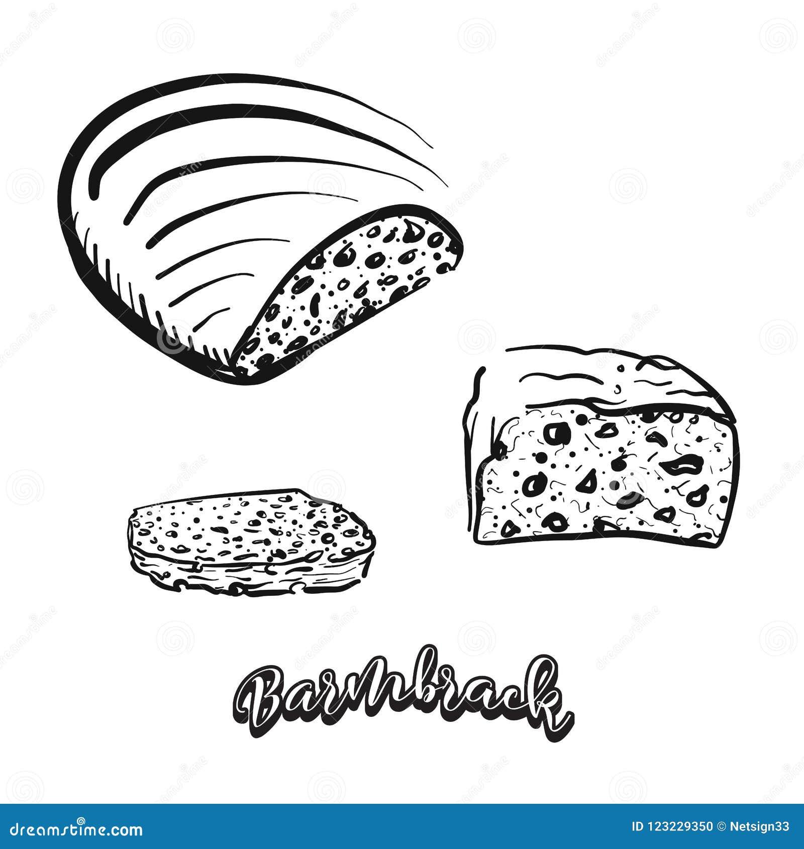 Bosquejo dibujado mano del pan de Barmbrack