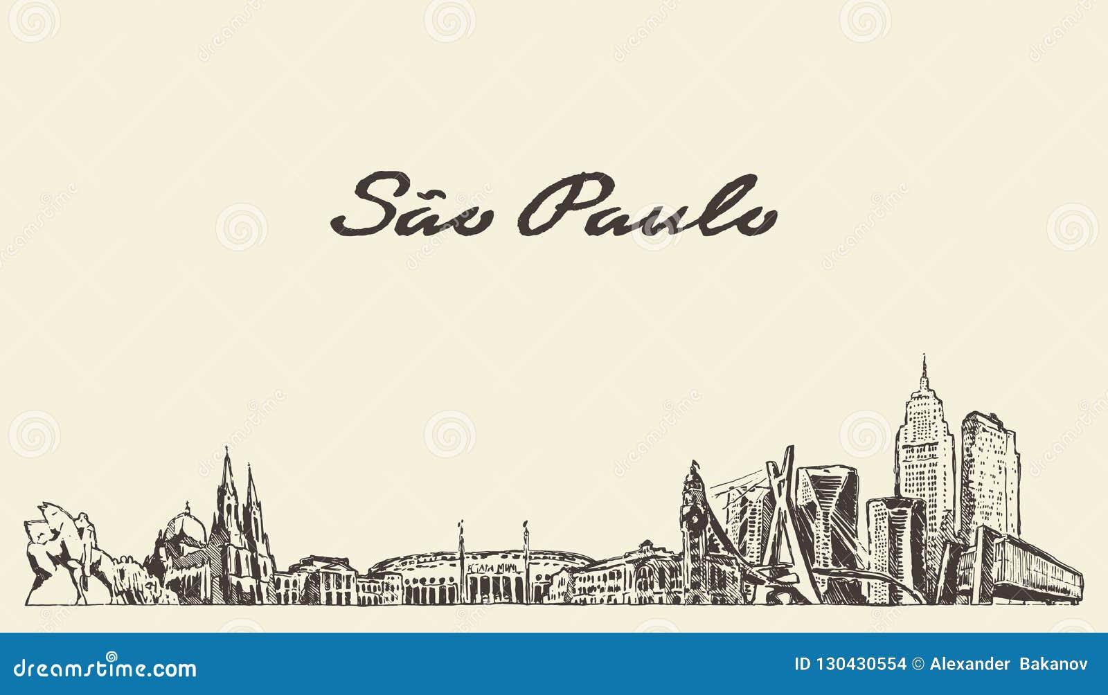 Bosquejo exhausto de la ciudad del vector del Brasil del horizonte de Sao Paulo