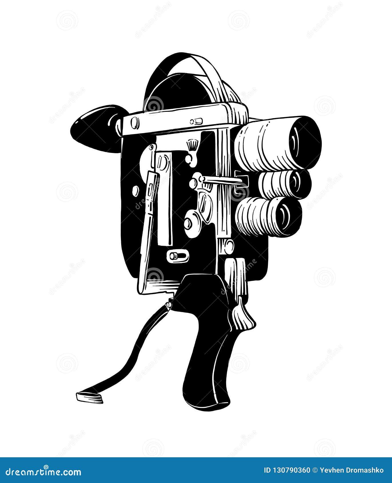 Bosquejo Exhausto De La Mano De La Cámara De Vídeo Vieja En