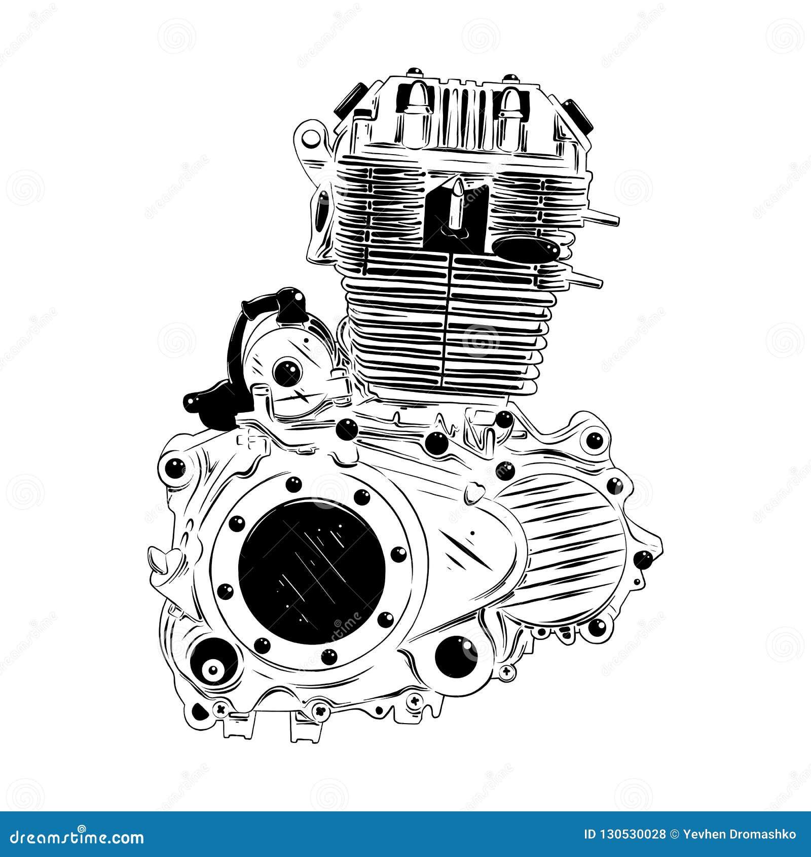Bosquejo Exhausto De La Mano Del Motor Del Moto En Negro