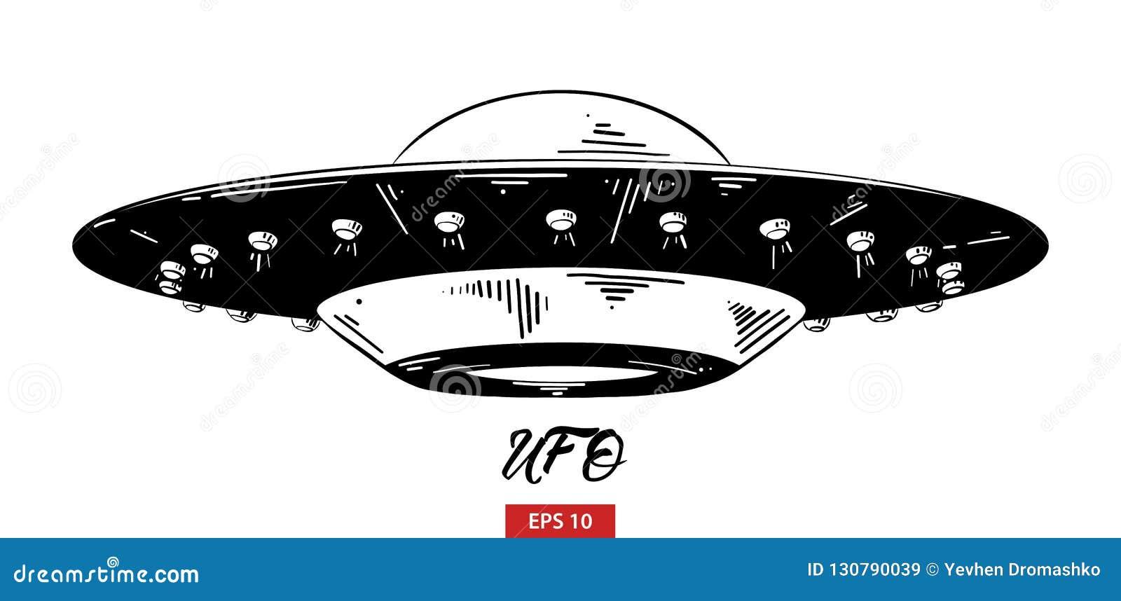 Bosquejo exhausto de la mano del UFO en negro aislado en el fondo blanco Dibujo detallado del estilo de la aguafuerte del vintage