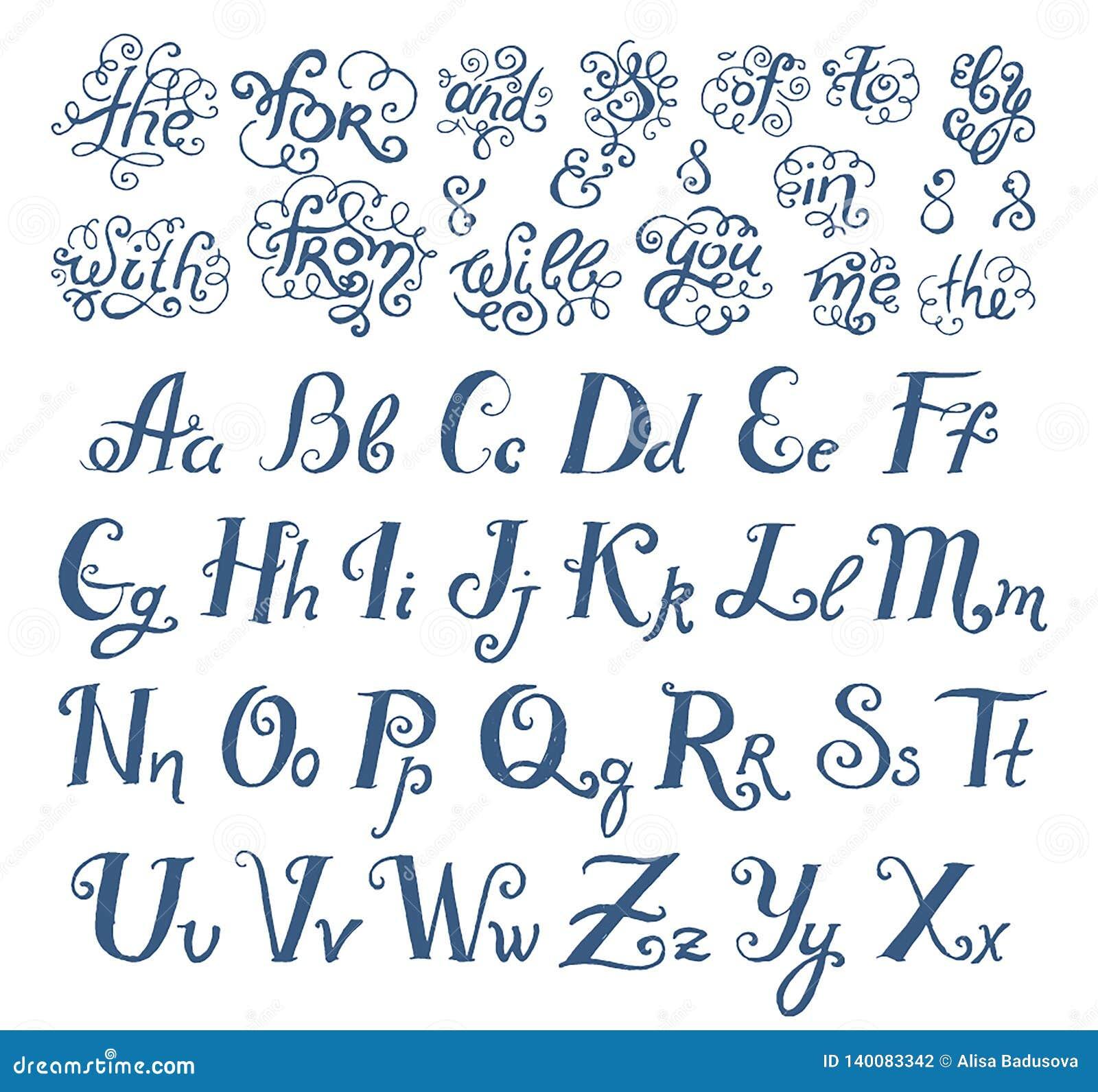 Bosquejo exhausto de la mano del vector de las palabras de las preposiciones en el ejemplo del estilo de fuente del vintage en el