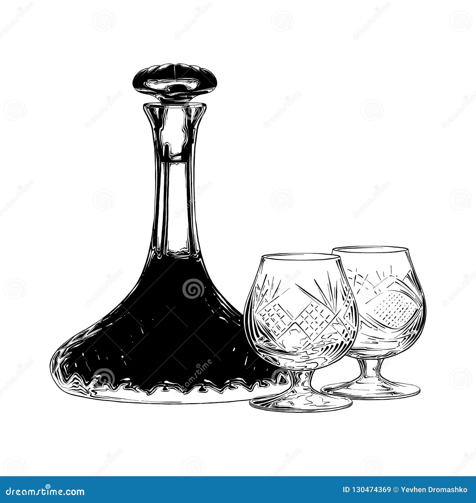 Bosquejo exhausto de la mano del vino judío en negro aislado en el fondo blanco Dibujo detallado del estilo de la aguafuerte del