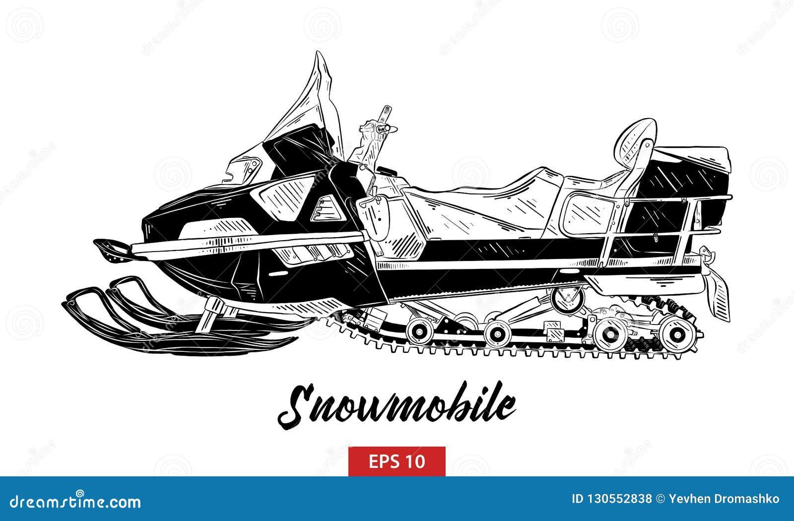 Bosquejo exhausto de la mano de la moto de nieve en el negro aislado en el fondo blanco Dibujo detallado del estilo de la aguafue