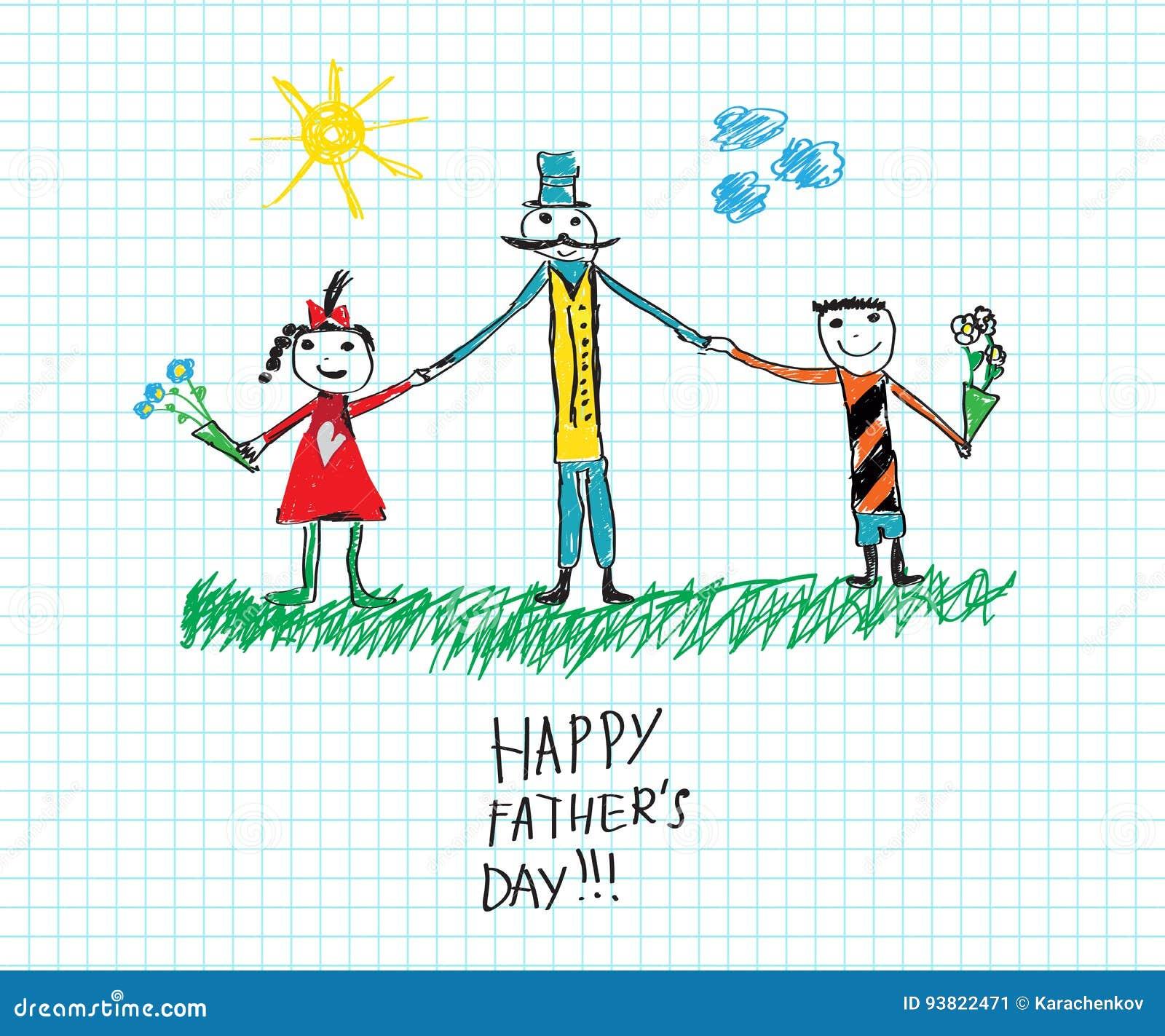 Bosquejo Feliz Del Dibujo Del S Del Niño Del Día Del S Del Padre