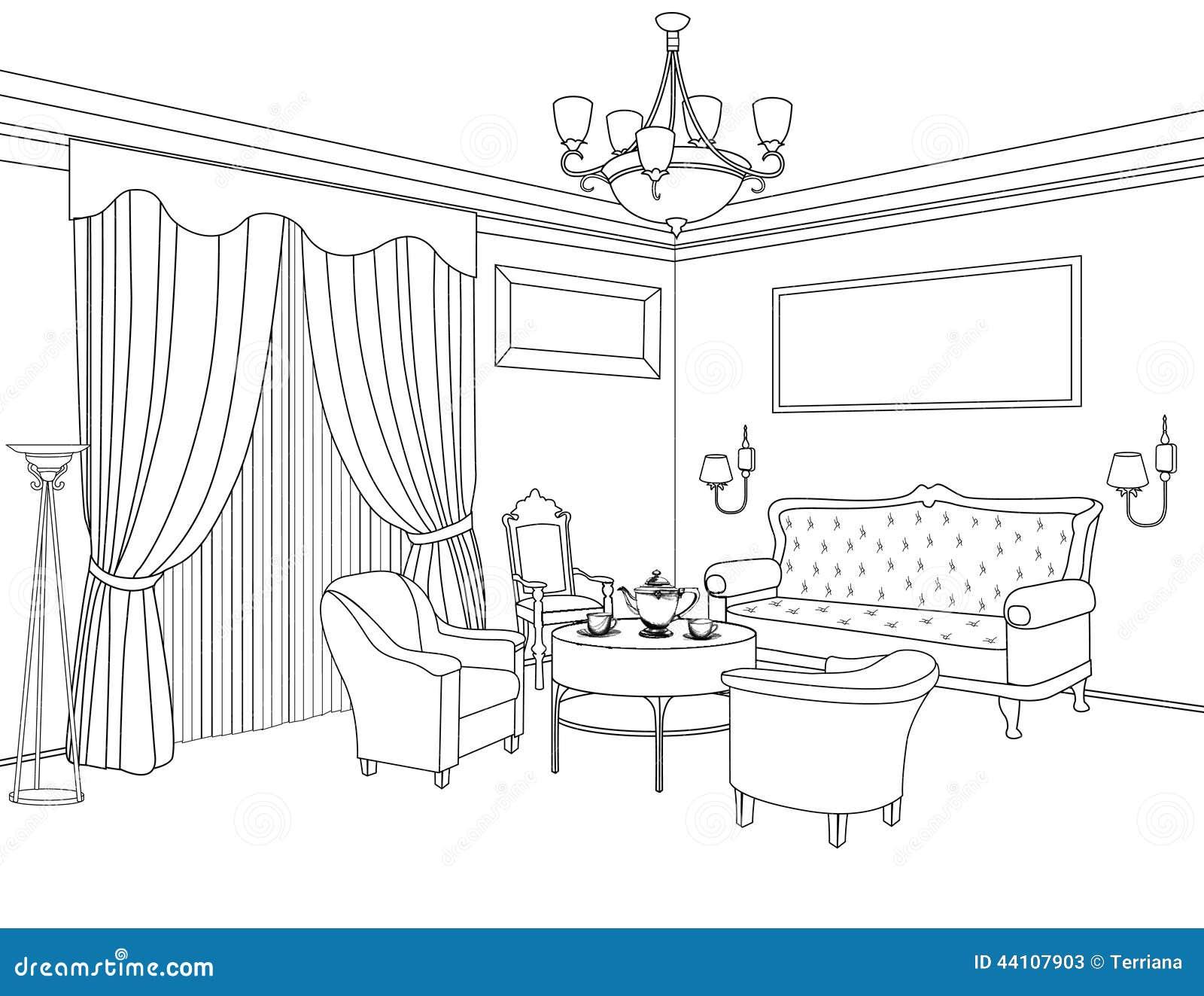 Bosquejo Interior Del Esquema Muebles Dise O Arquitect Nico Stock  # Muebles Dibujo Arquitectonico