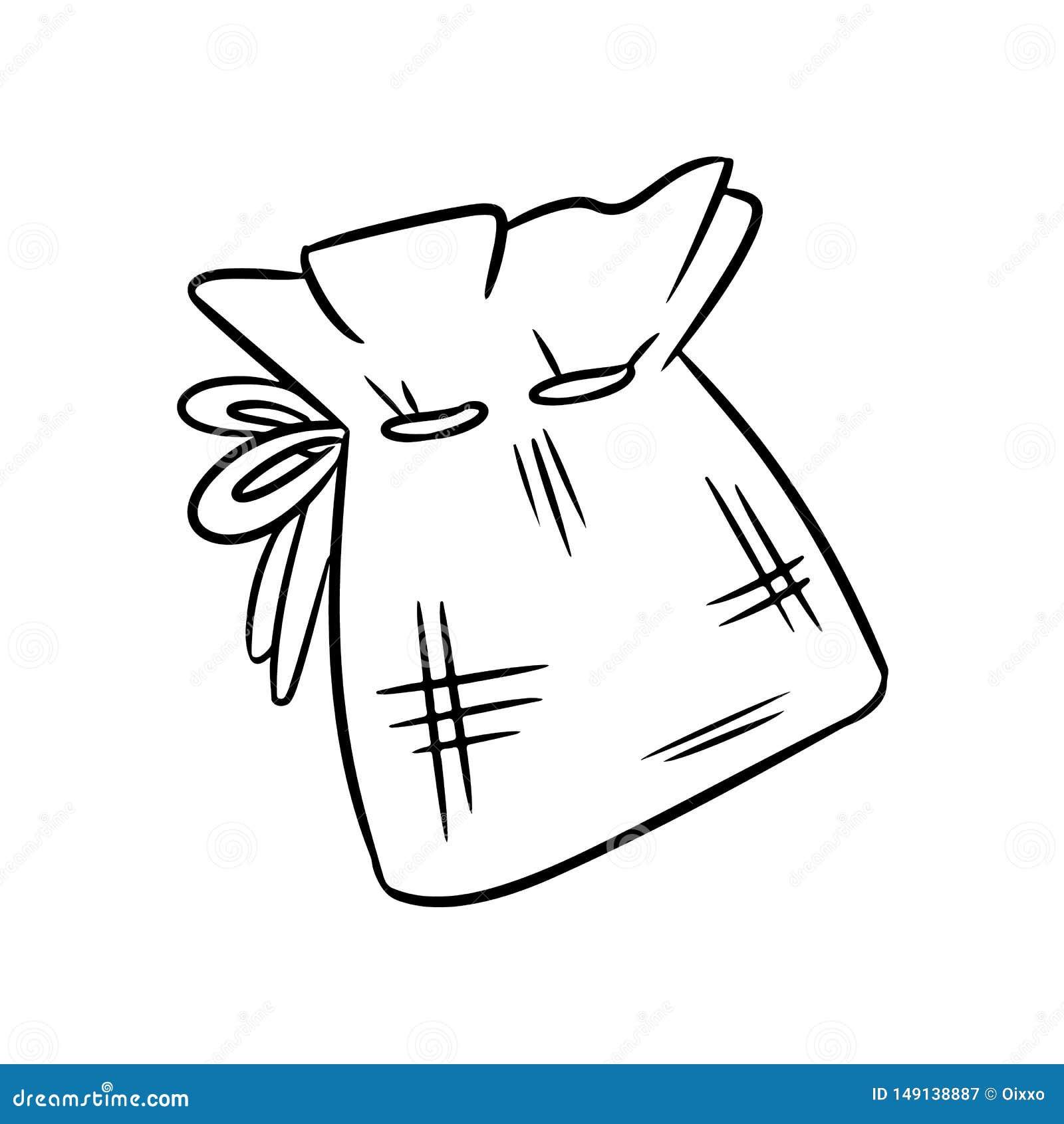 Bosquejo material natural del garabato del bolso del algodón Bolso ecol?gico y de la cero-basura Casa verde y vida pl?stico-libre