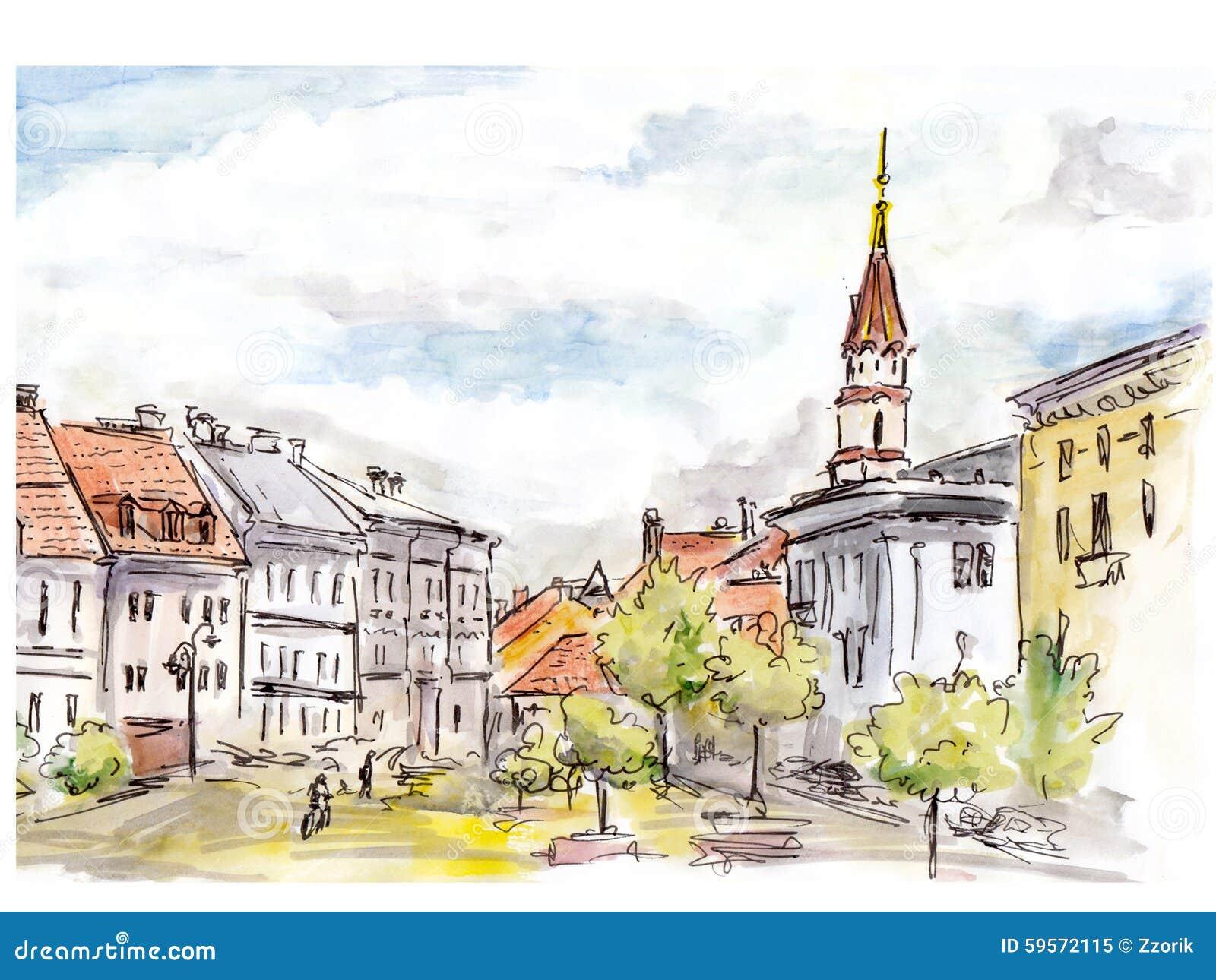Bosquejo pintado a mano de la calle de la ciudad de Vilna Acuarela y trazador de líneas