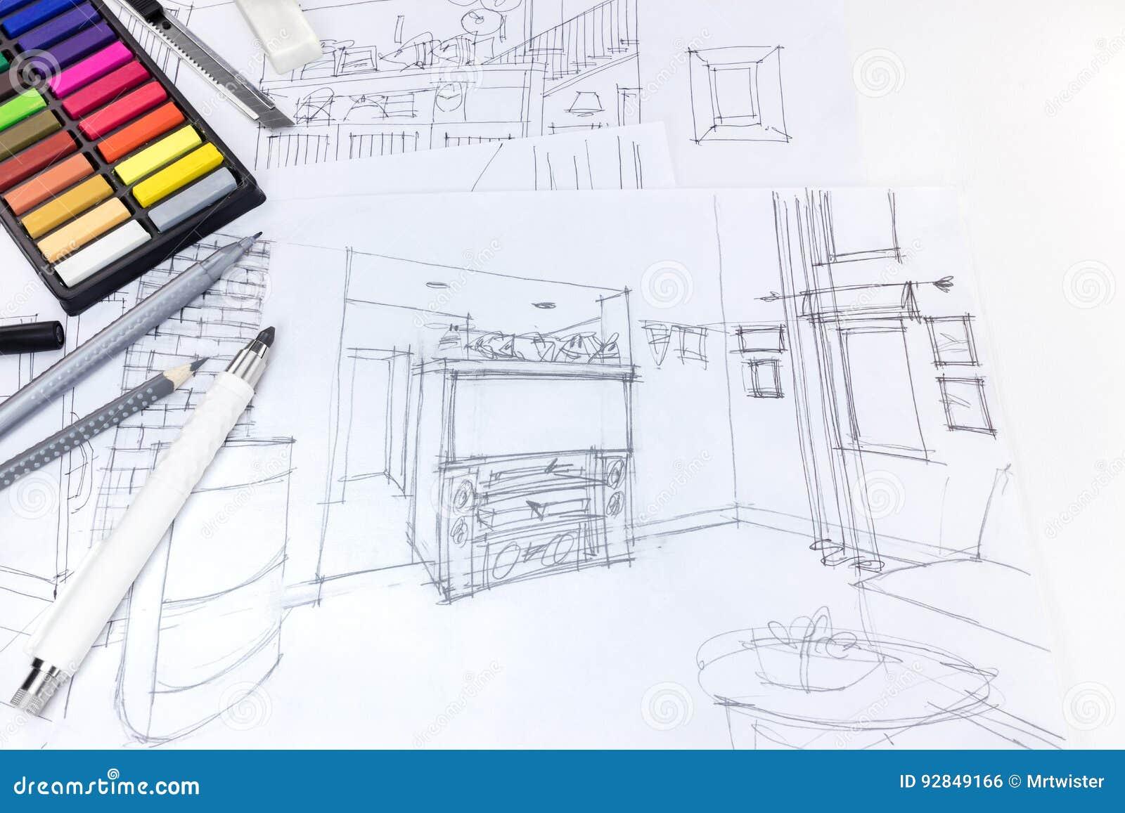 Dibujo de la sala de estar interior fotos de stock for Sala de estar dibujo