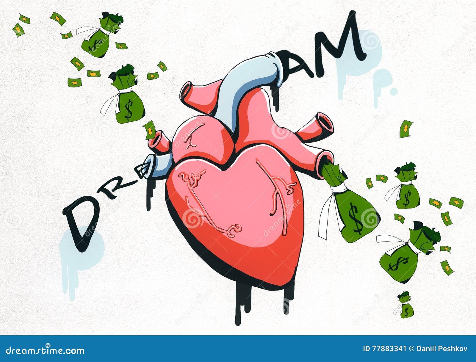 Bosquejo Realista Del Corazón Y Del Dinero Stock De Ilustración