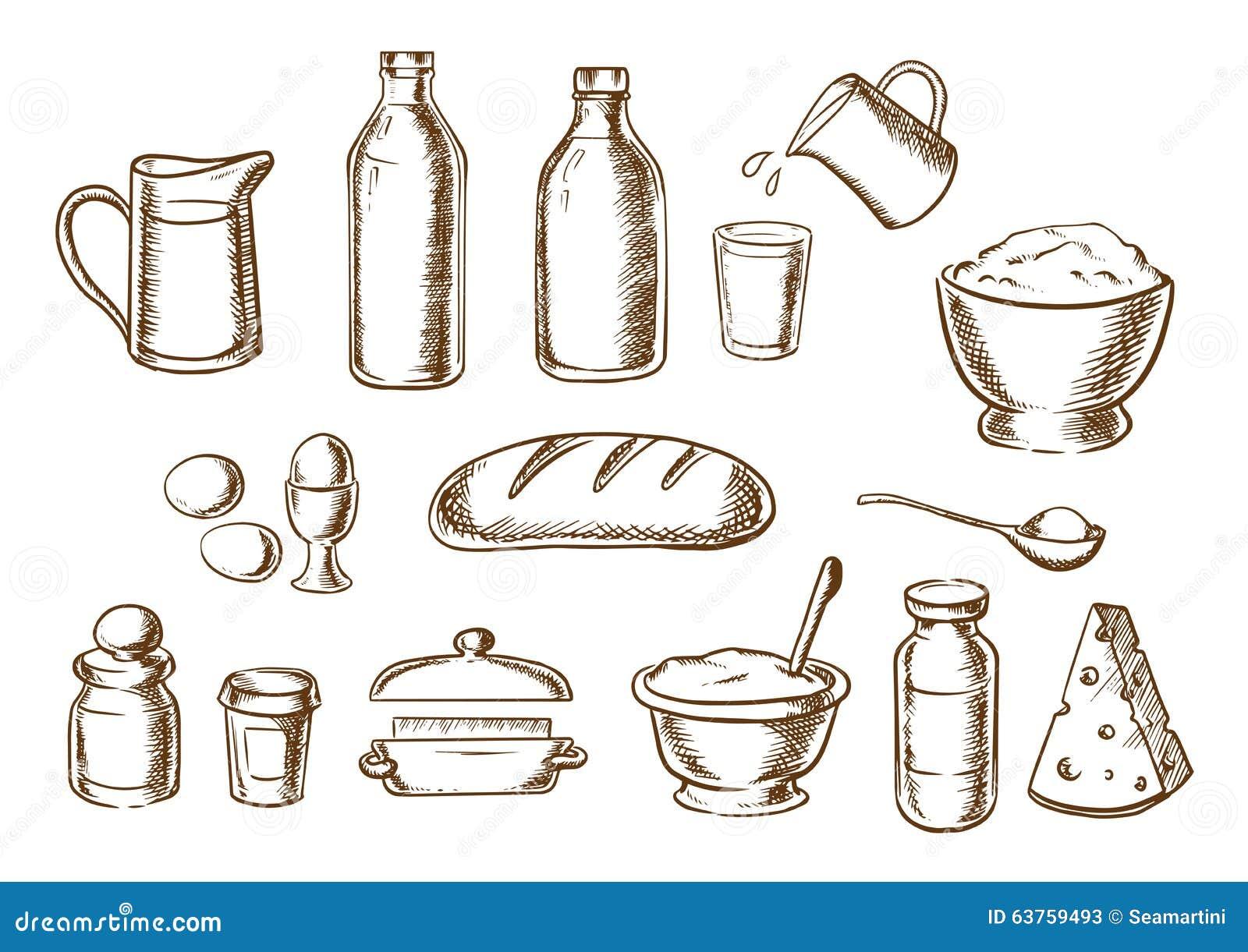 Bosquejos de los ingredientes de la panadería y del pan
