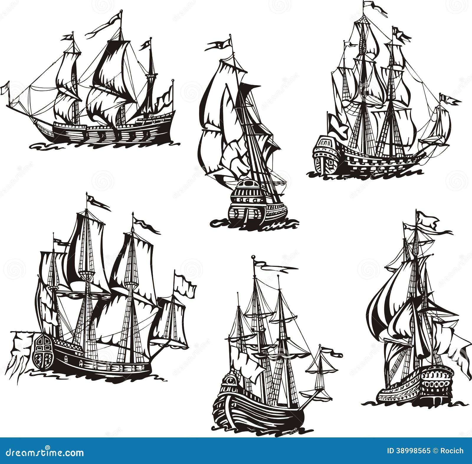 Bosquejos de los veleros