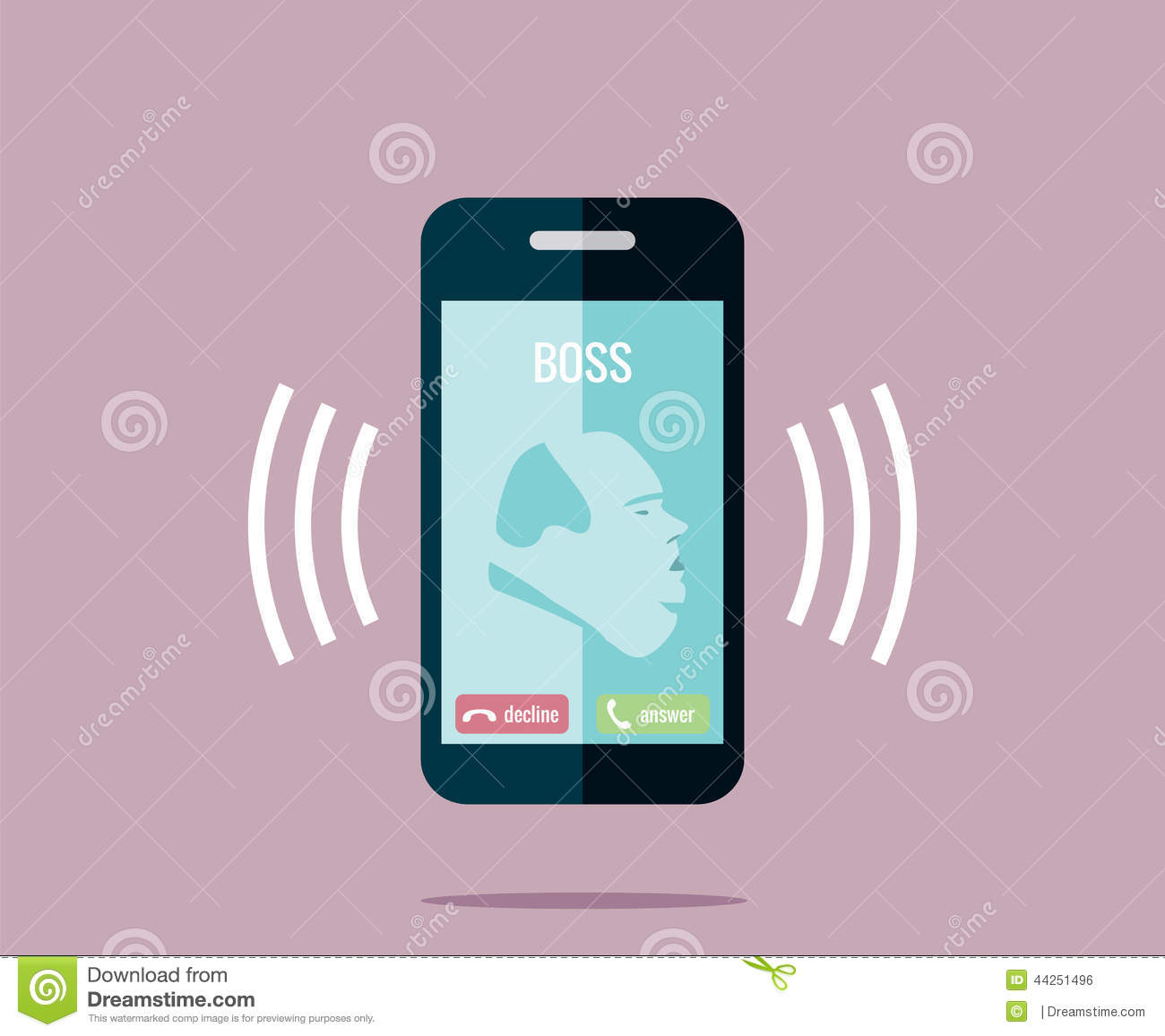 Drawing Of Fat A Ringing Mobile Phone Calling Call Vector The Boss Illustration - Boss With Stock On Stylised 44251496 Is