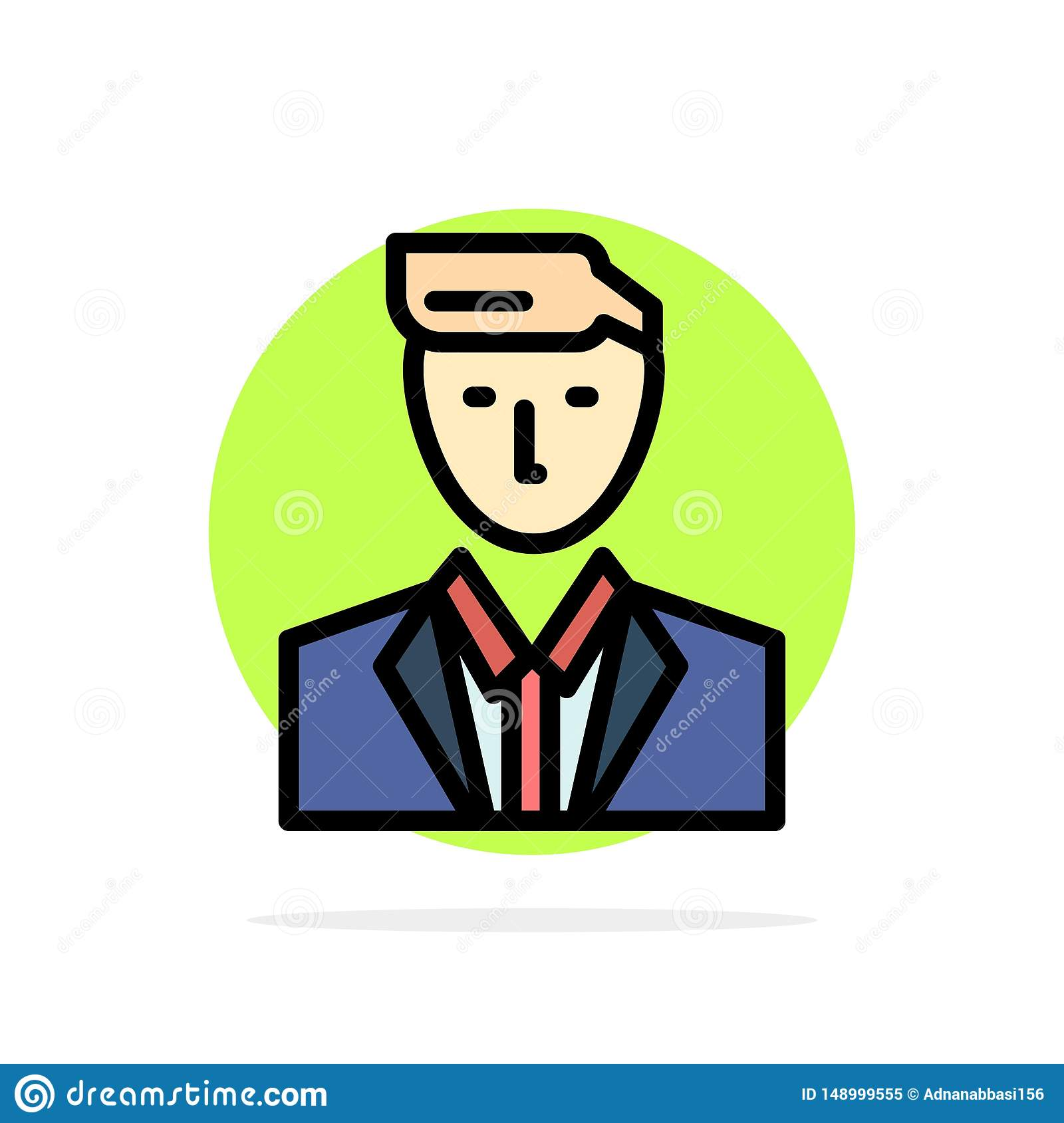 Boss, Ceo, Head, Leader, Mr Abstract Circle Background Flat color Icon