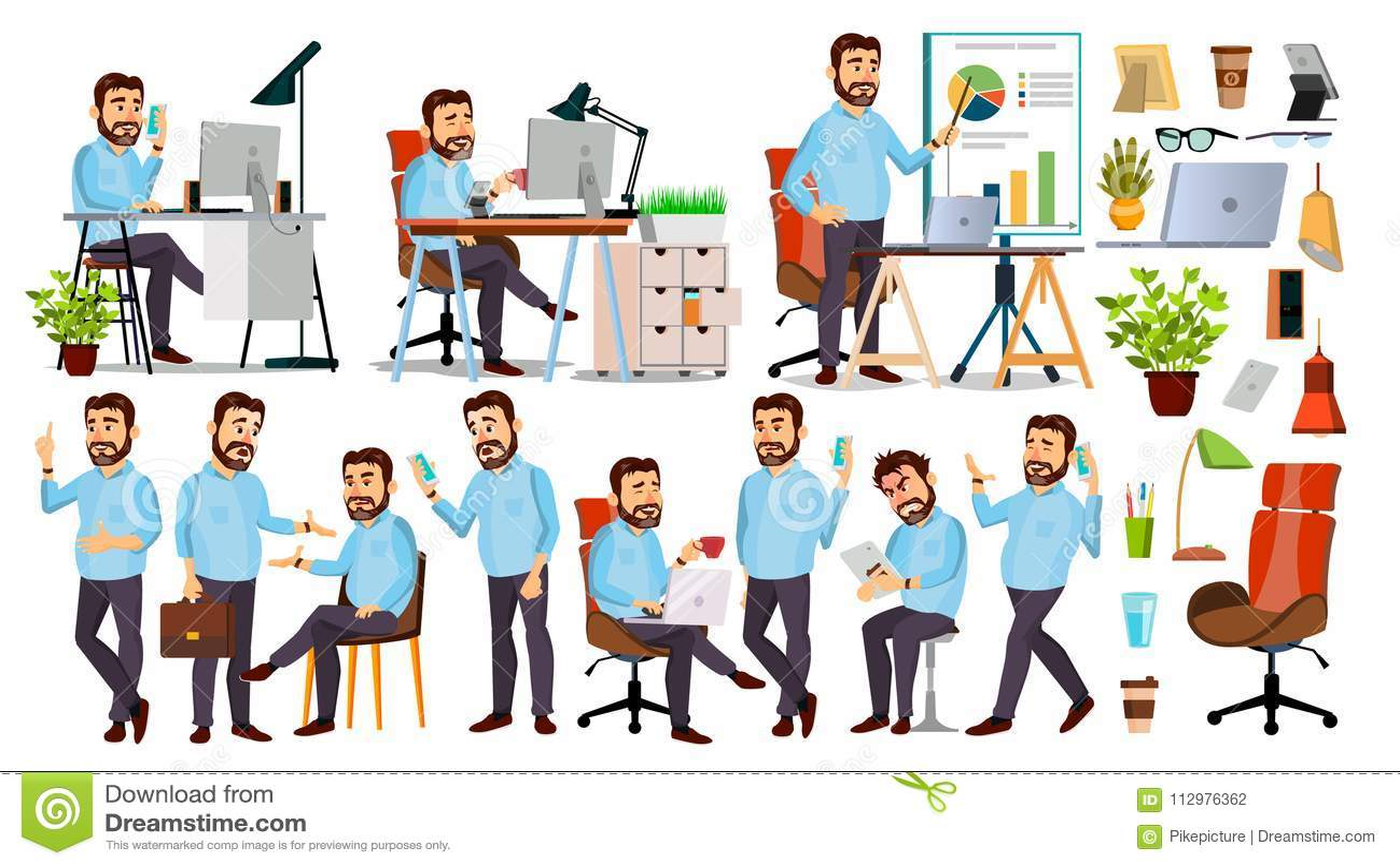 Boss Character Vector. CEO, Managing Director, Representative Director. Poses, Emotions. Boss Meeting. Cartoon Business