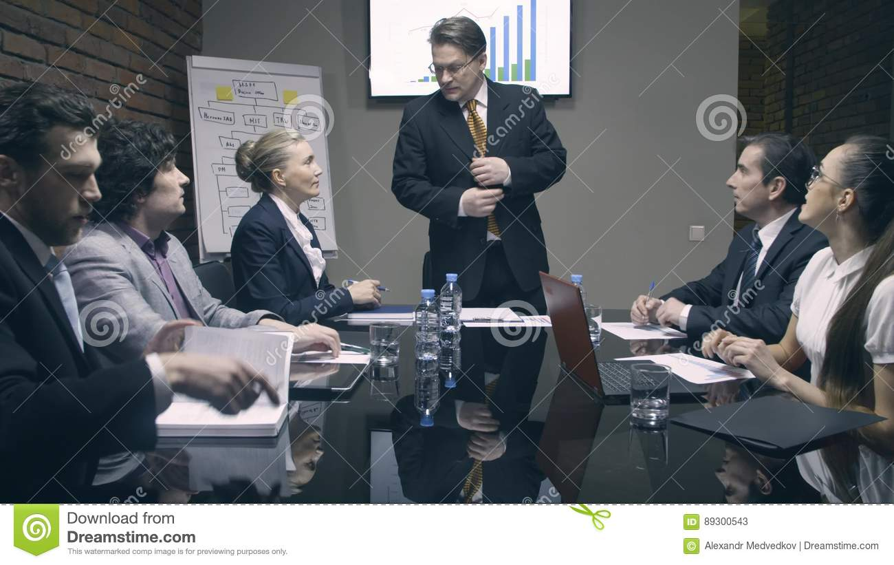 Boss comes and greet colleagues in meeting room stock video video boss comes and greet colleagues in meeting room stock video video of global leader 89300543 m4hsunfo