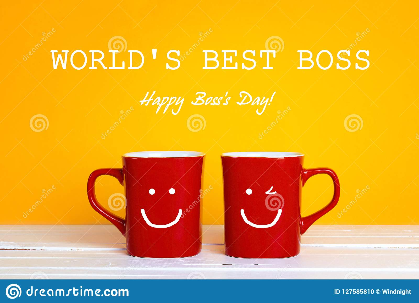 Boss Day Greeting Card With Two Red Coffee Mugs With A Smiling F