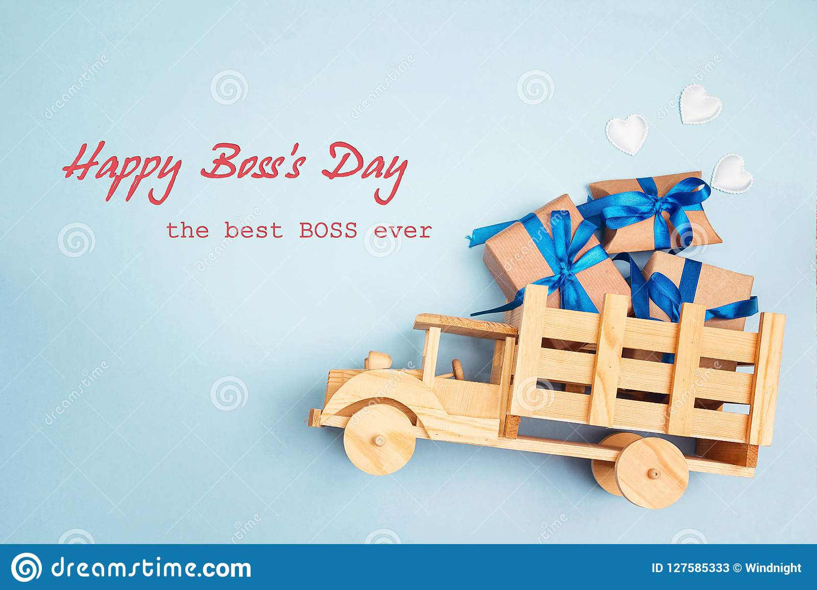 Boss day greeting card with wooden toy truck and gift box in the boss day greeting card with wooden toy truck and gift box in the m4hsunfo
