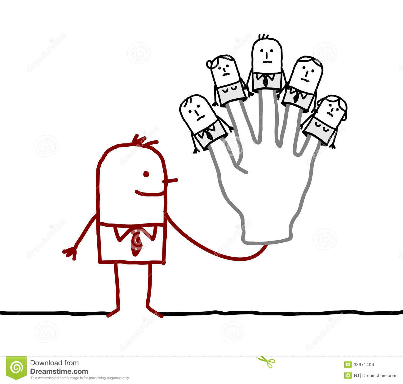 Cartoon Characters 3 Fingers : Boss with five puppets employees on fingers stock vector