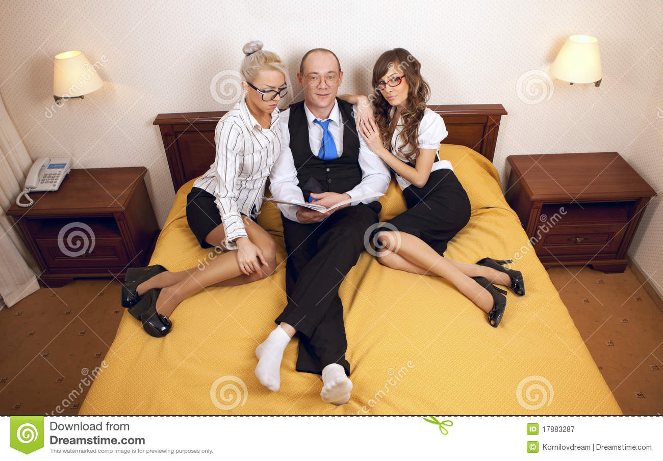 Boss With Secretaris On New Year's Night Royalty Free ...