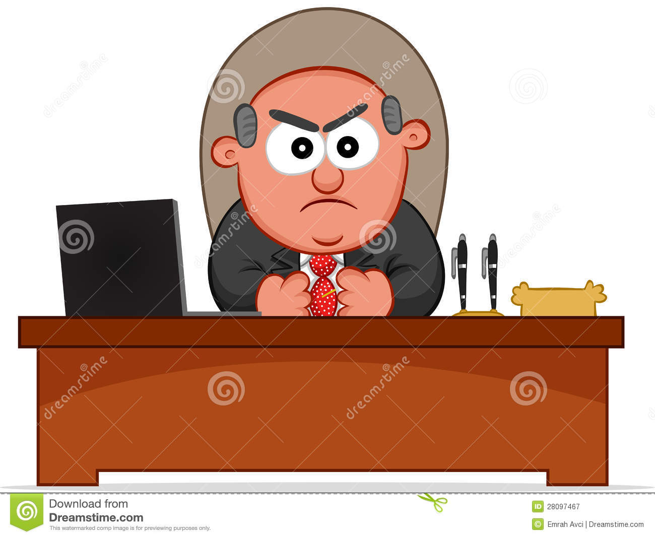 Angry Boss Is Sitting Behind His Desk Stock Vector