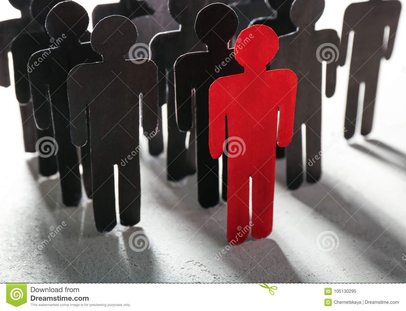 Boss vs leader concept. Crowd of human figures behind red