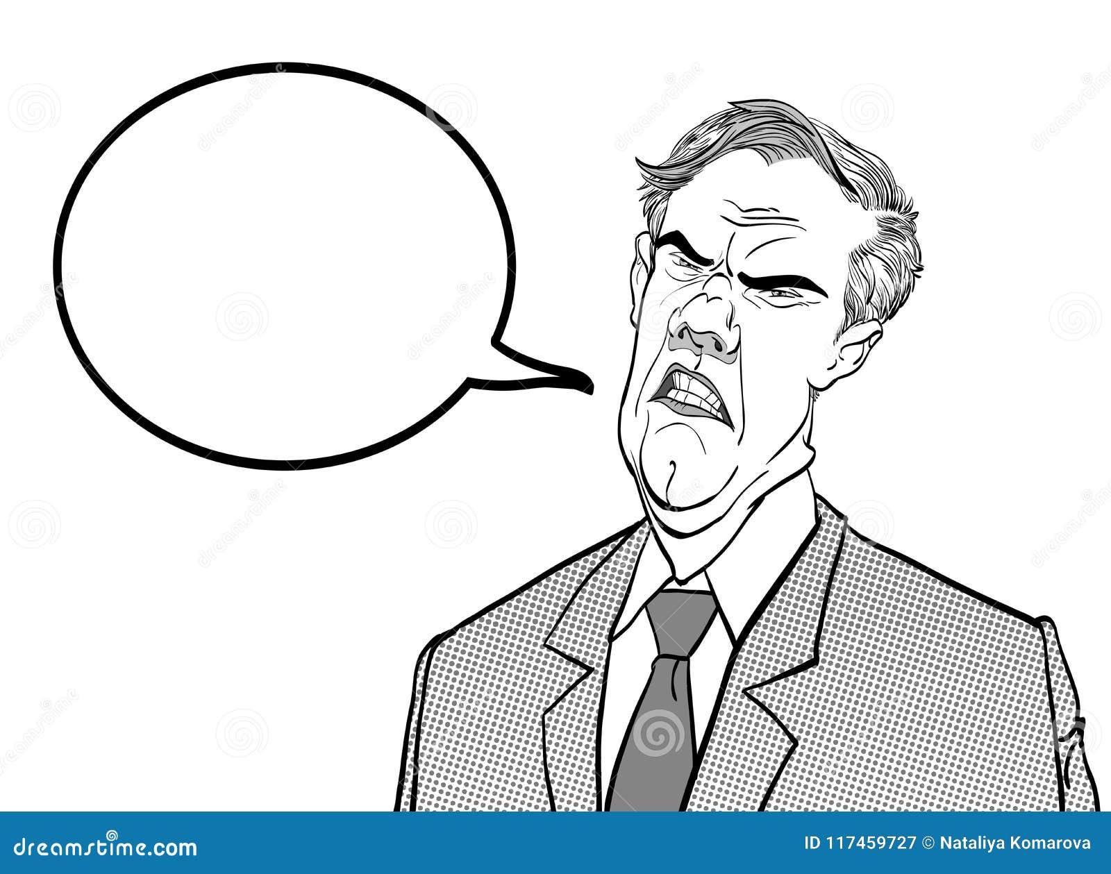 Bossage fâché Politicien contrarié Homme fâché Homme triste Politicien parlant E