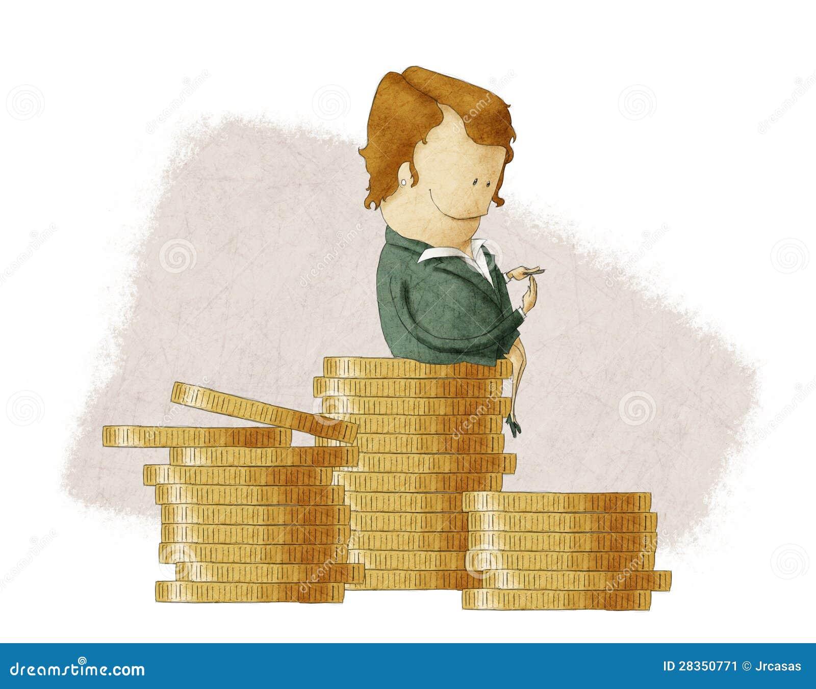 Bossage riche se reposant sur une pile des pièces de monnaie