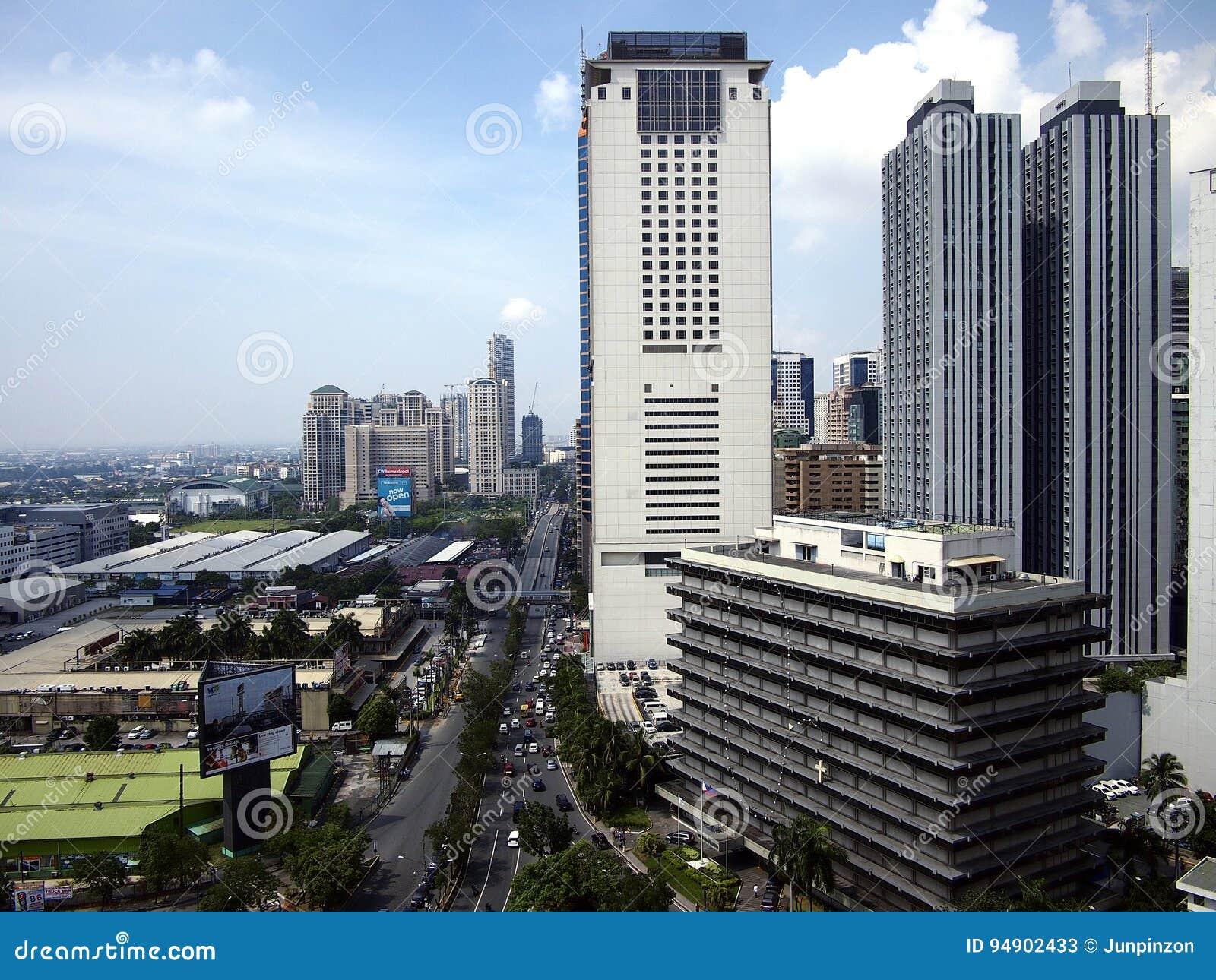 Bostads- och kommersiella byggnader i den Pasig staden, Filippinerna