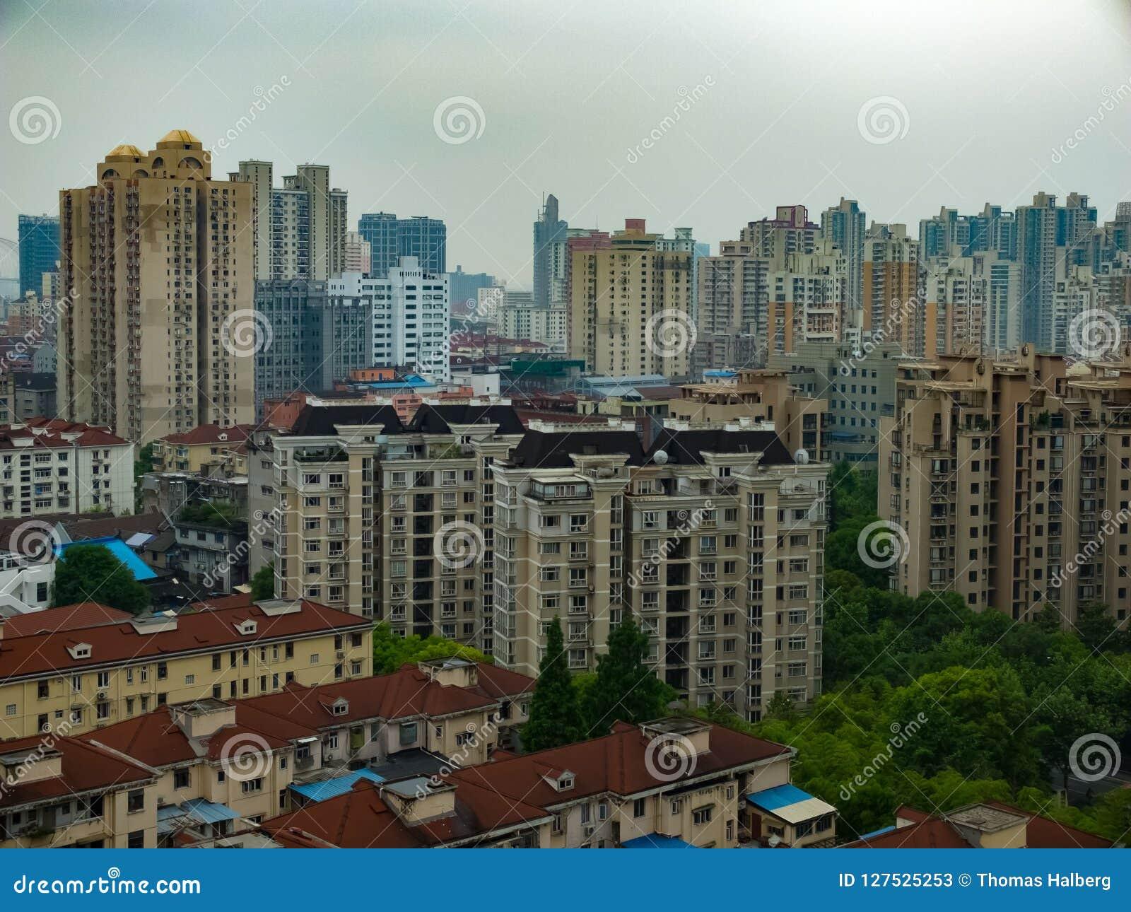 Bostads- område i Shanghai, Kina